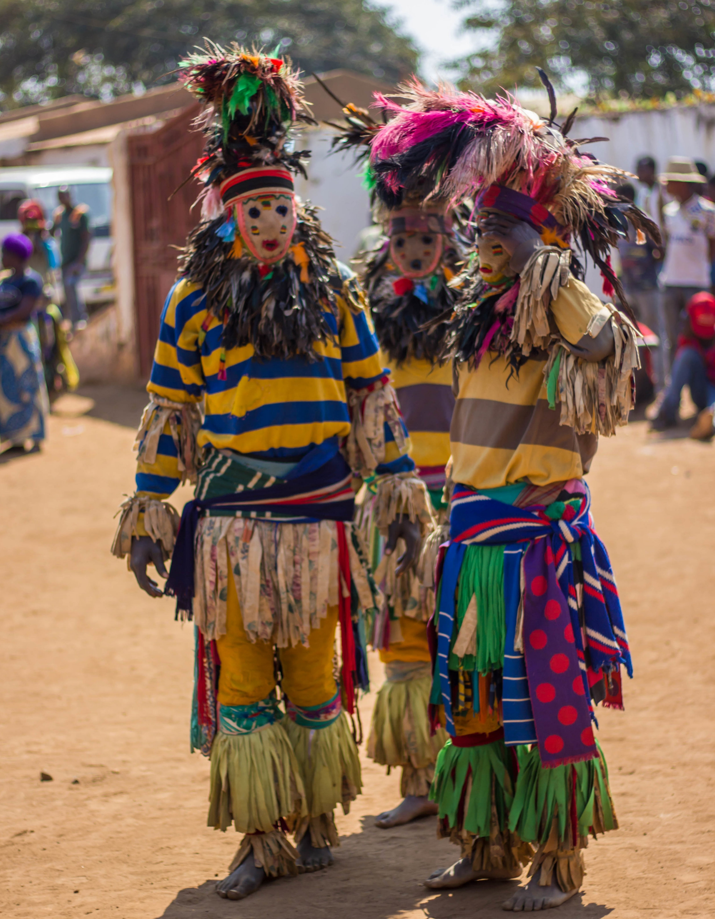 Nyau   Nyau is a secret society among the Chewa people, Malawi's largest tribal group, and are responsible for performing the  Gule Wamakulu  dance. The society was once banned by Christian missionaries though it survived and adapted, with some factions incorporating elements of Christianity into their ceremonies. Both men and women can join the society, though the initiation rights are different between genders, and the roles and rights of the society's members vary according to gender and seniority. The earliest known evidence of the society, a cave painting of a Nyau mask in Zaire, dates back to 992 B.C., making the society nearly 3,000 years old.