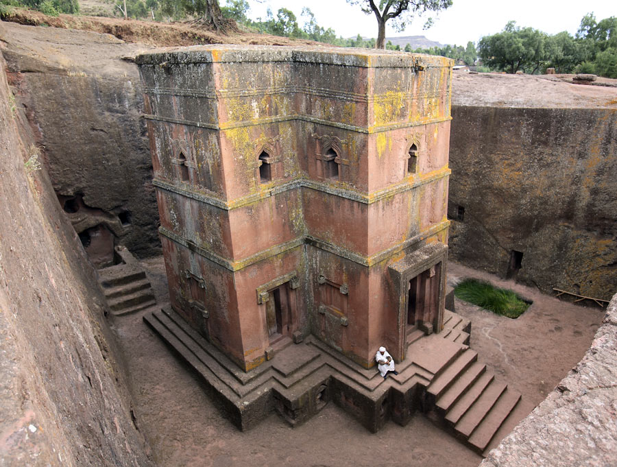Church of St. George   Dating around the 12th or 13th century, the Church of St. George was carved out of solid rock. A testament to medieval construction, Ethiopian stone masons chiseled away at a block of rock to form what is still a pilgrimage site for Orthodox Ethiopian Christians.