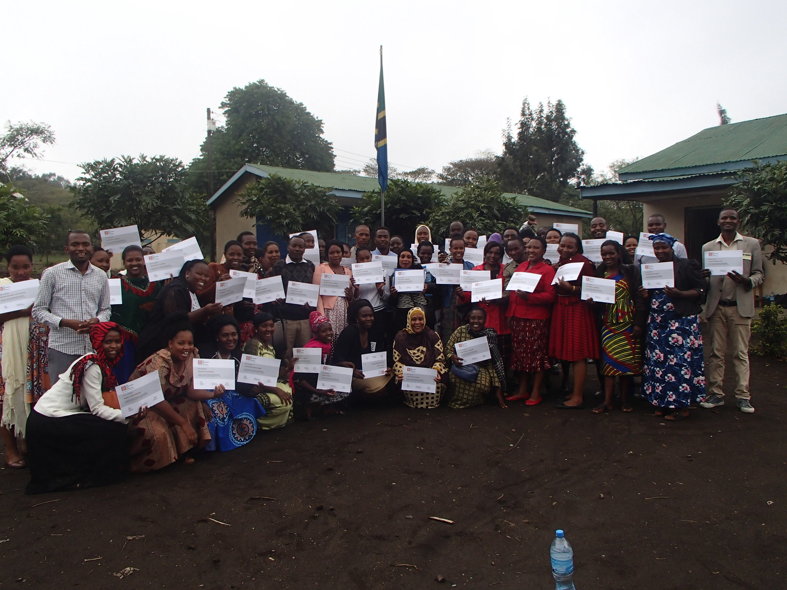 2019 Participatory Learning Training Workshop. Final day group photo with completion Certificates.