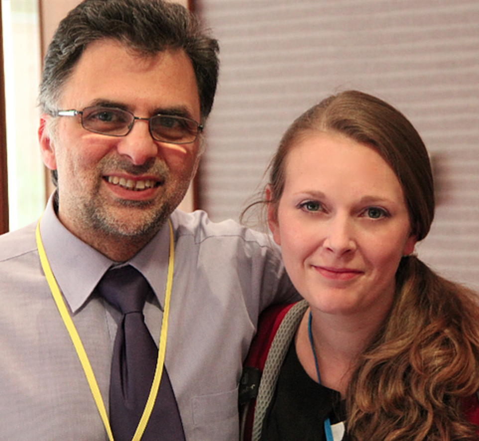 Professor Yiannakou (Director of Research and Development at County Durham and Darlington NHS Foundation Trust) & Minx Natalie (GIFT) at Durham Bowel Conference July 2014