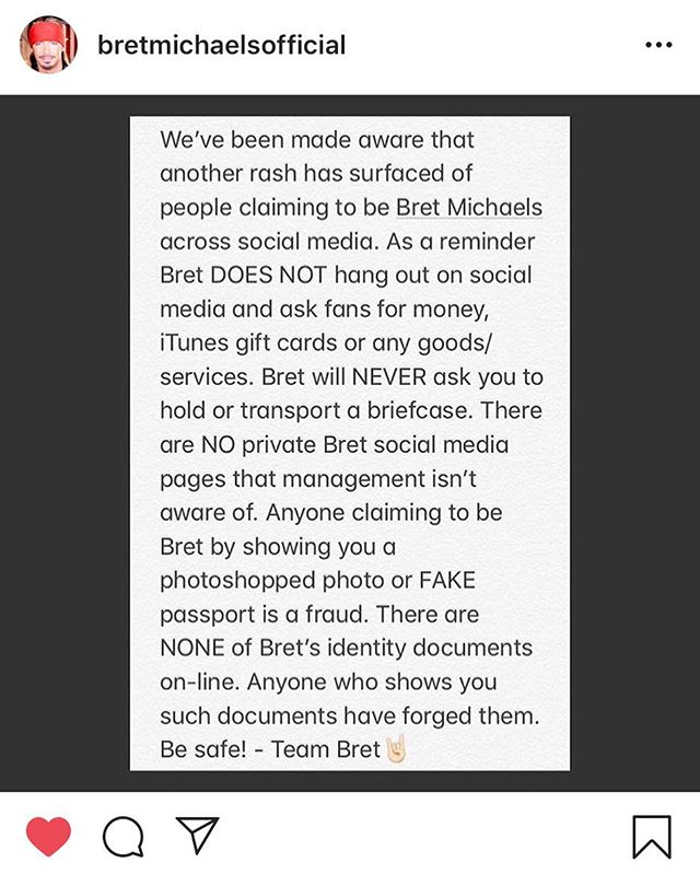 Info for any of our friends who got scammed by a fake Bret Michaels. We know we did. We thought we bought a briefcase of Bret's pubes. Turns out it's not?! WTF we want our money back! We are running low on arbor mist and could use the cash. What's the last scam you were a part of? Tell us in the comments below 👇👇☝️👉👌