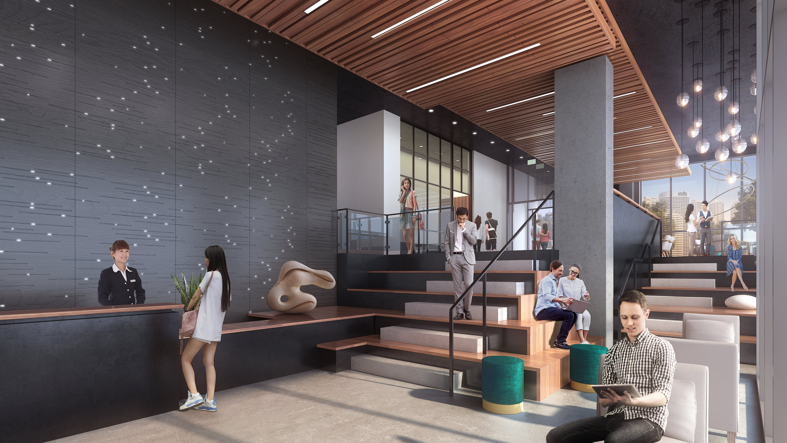 PICTURED ABOVE AND BELOW:   KODA's voluminous lobby and co-working environment and the 7thfloor Fitness Studio with outdoor stretching and yoga retreat.