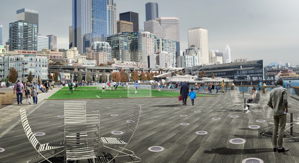 PICTURED ABOVE: The rehabilitation and update to Pier 62 by the City of Seattle, through its Office of the Waterfront, is part of its overall strategy in creating a central public open space area along the central waterfront.