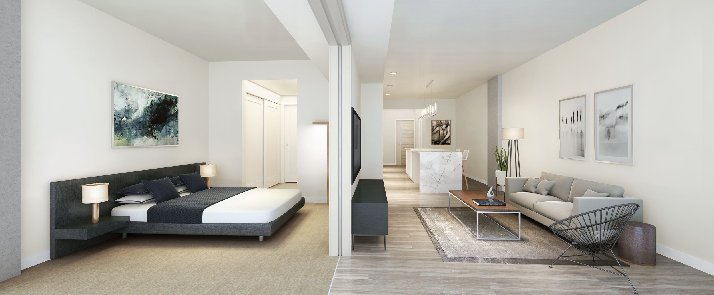 PICTURED ABOVE & BELOW: Renderings reveal design inspiration for the efficiently-scaled condominiums offering homeownership from below $400,000 to more than $1.4 million.