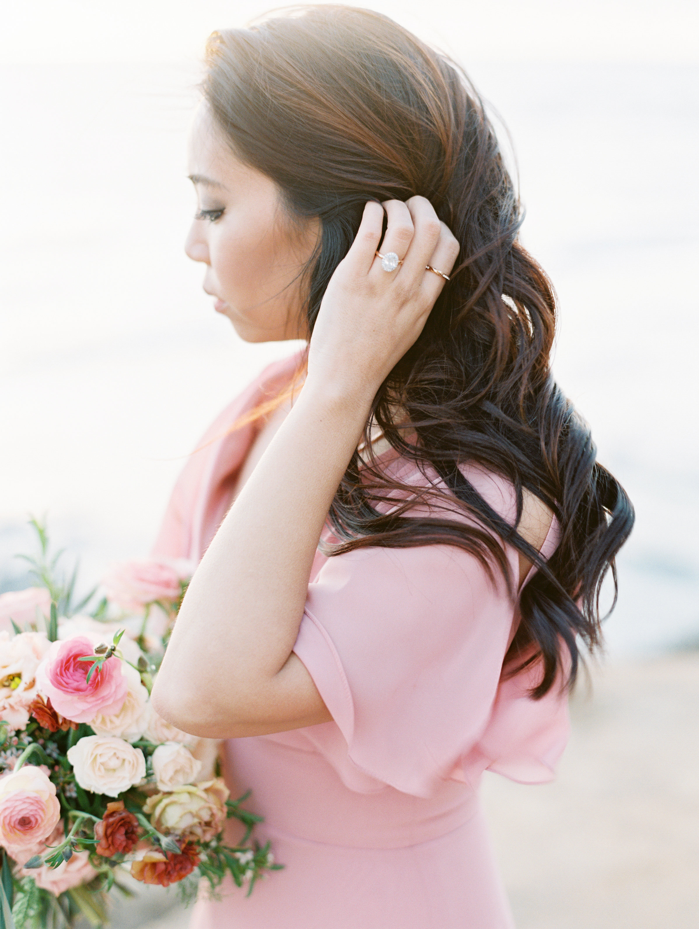 Photography  mallory dawn photo  / Hair and Makeup @  airpro_makeup  / Florals blue ladder botany / Dress @jennyyoonyc / Engagement Ring @  harrykazanjian /  Film Lab @goodmanfilmlab