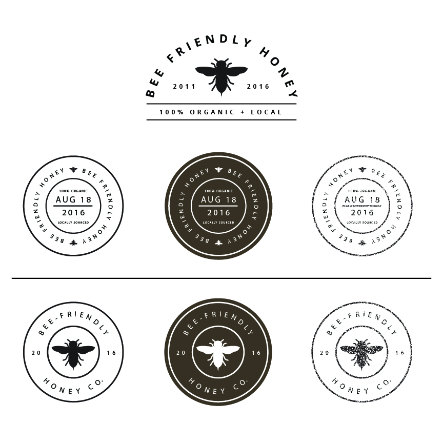 Bee Friendly Honey - Concept Stickers & Stamps