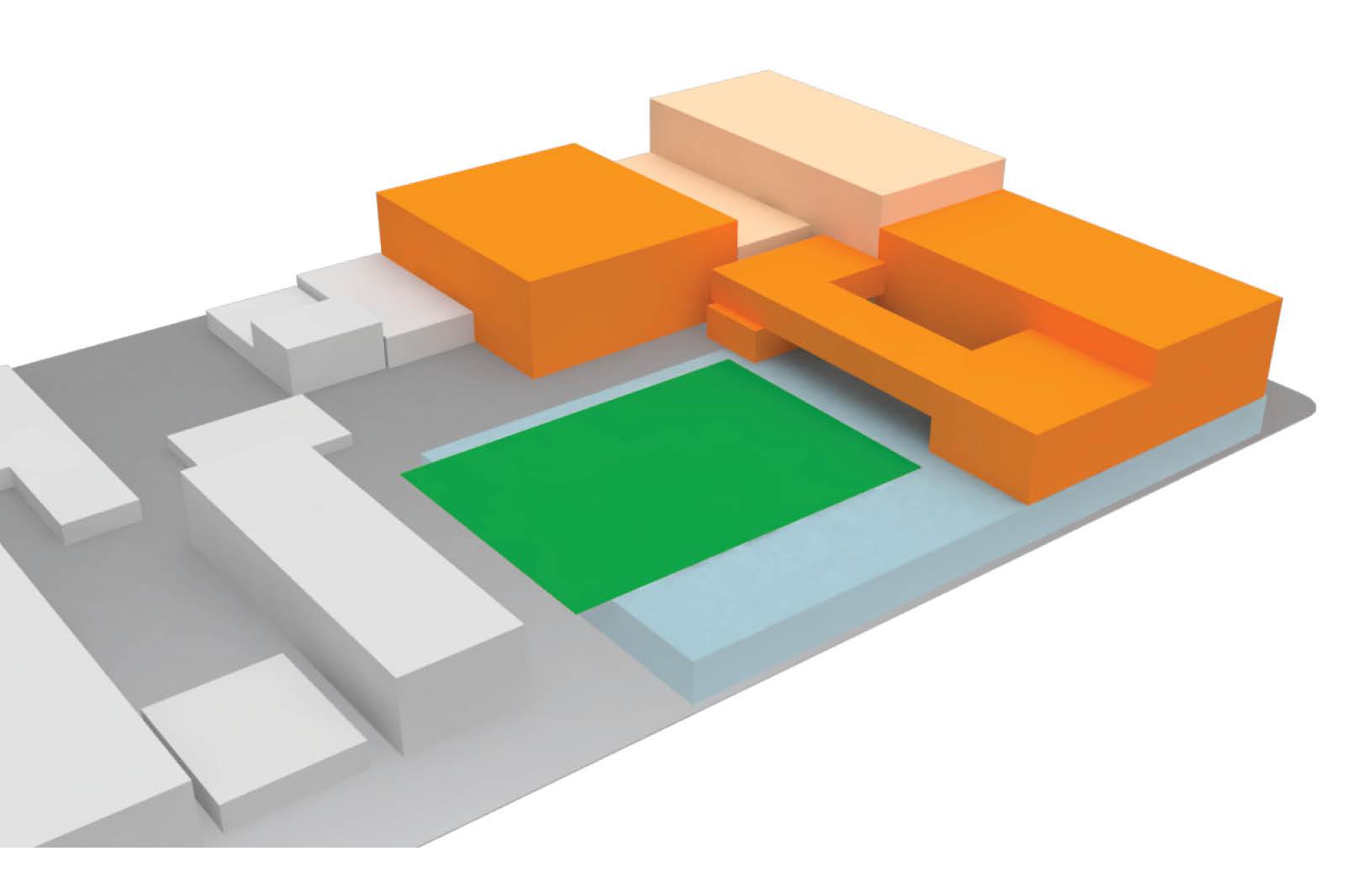 Aerial view of 3D model looking northwest
