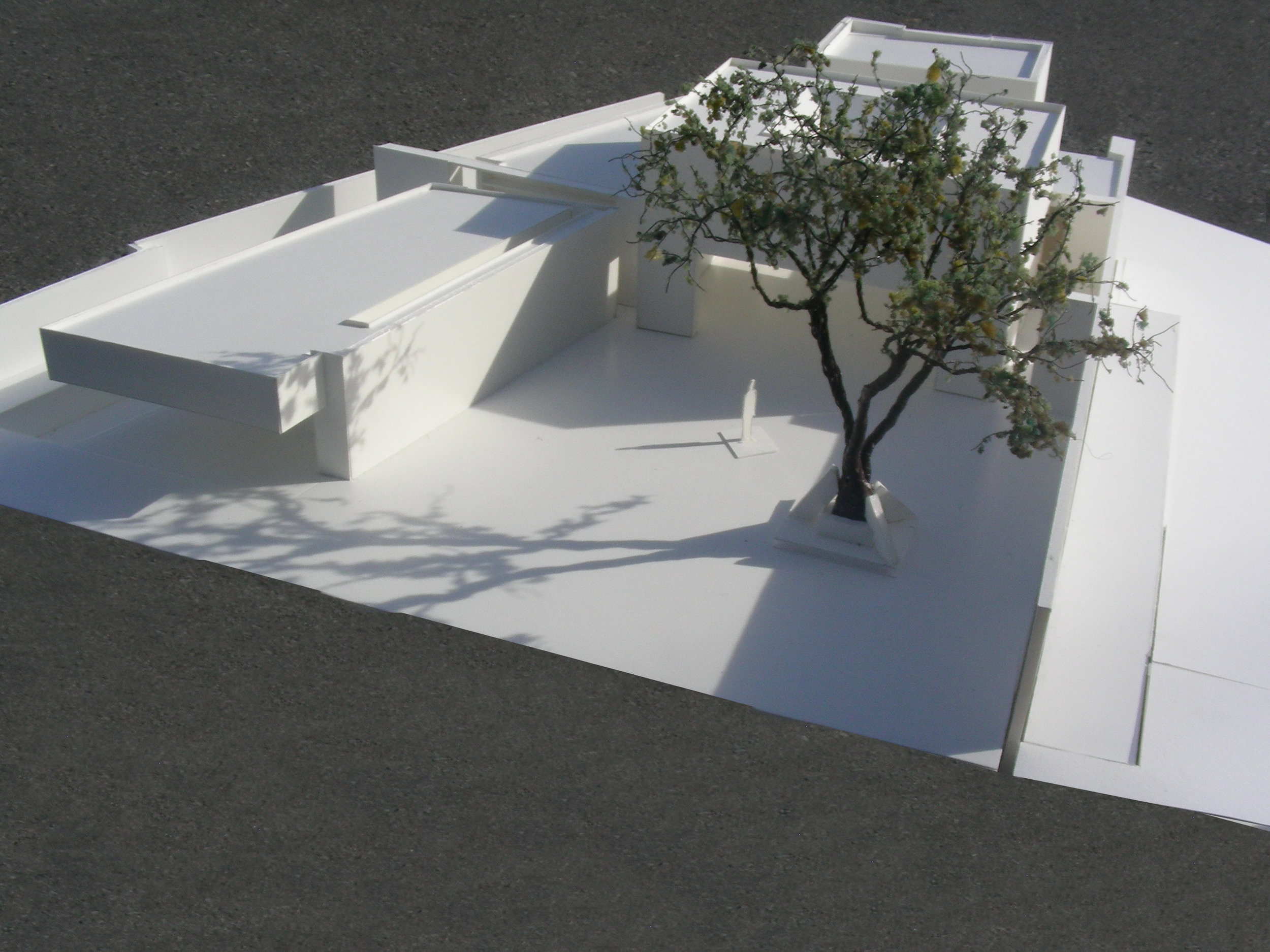 Aerial view of model looking south