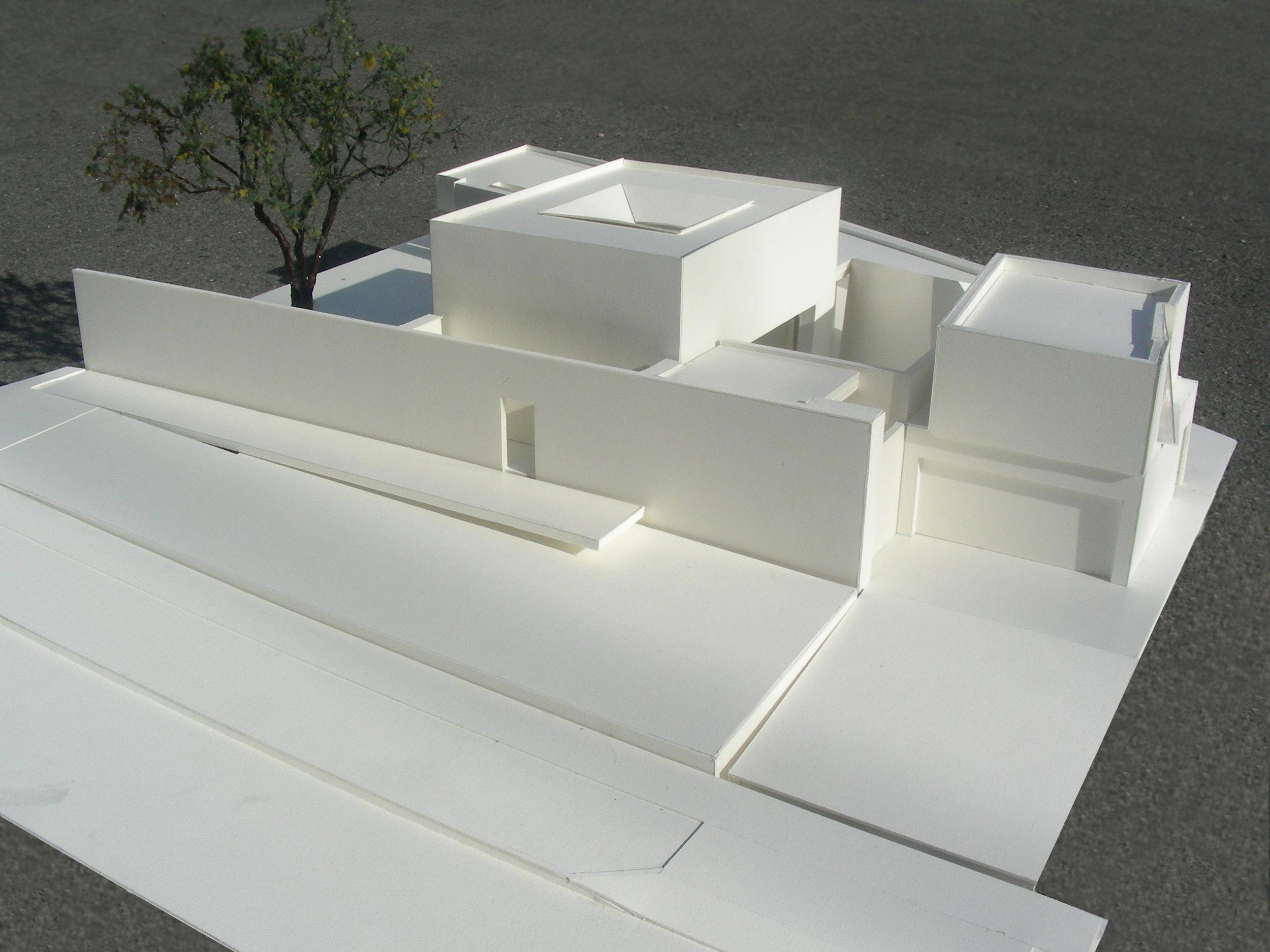 Aerial view of model looking east