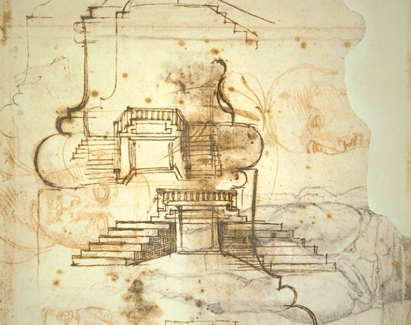 Michelangelo draws over sketches for a painting he's thinking about  as he tries to figure out what the stairs in the Laurentian library should look like and how they should work.
