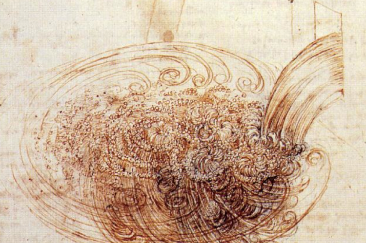 Da Vinci's not drawing a pretty picture of water. He's trying to understand how it behaves, how it works.