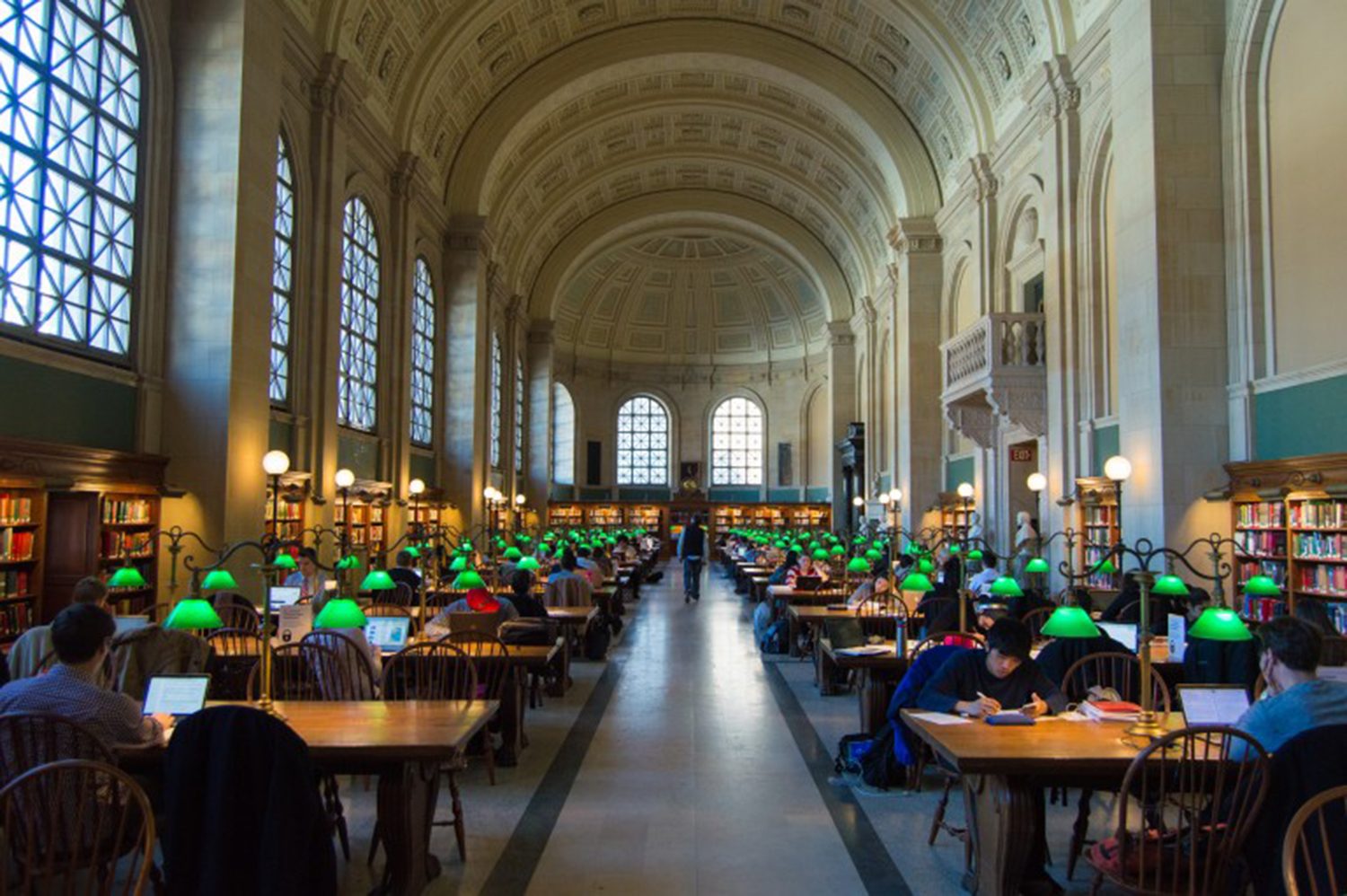The main reading room of the Boston Public Library is popular to this day, less for the state-of-the-art technology it offers than for the magnificent place it provides.