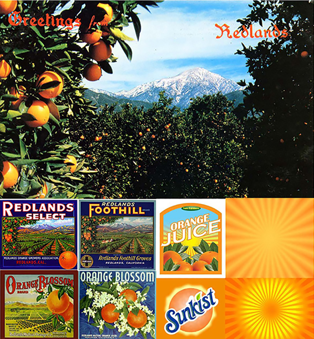 The city of Redlands was founded upon the citrus industry and the arrival of the railroads in southern California in the mid-19th century. The story is to this day meaningful to everyone who lives there. The graphic opportunities of old school crate labels and mid-century brands are fertile territory.