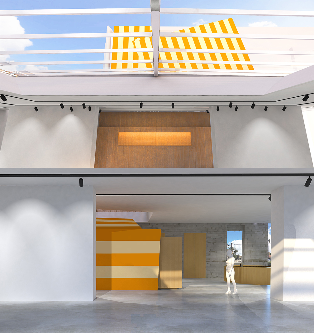 From the south gallery of the museum the sunburst motif is visible looking west up through the atrium skylight (the 2nd floor archive storage facility) and looking east back toward the museum entrance (the outside of the gift shop)