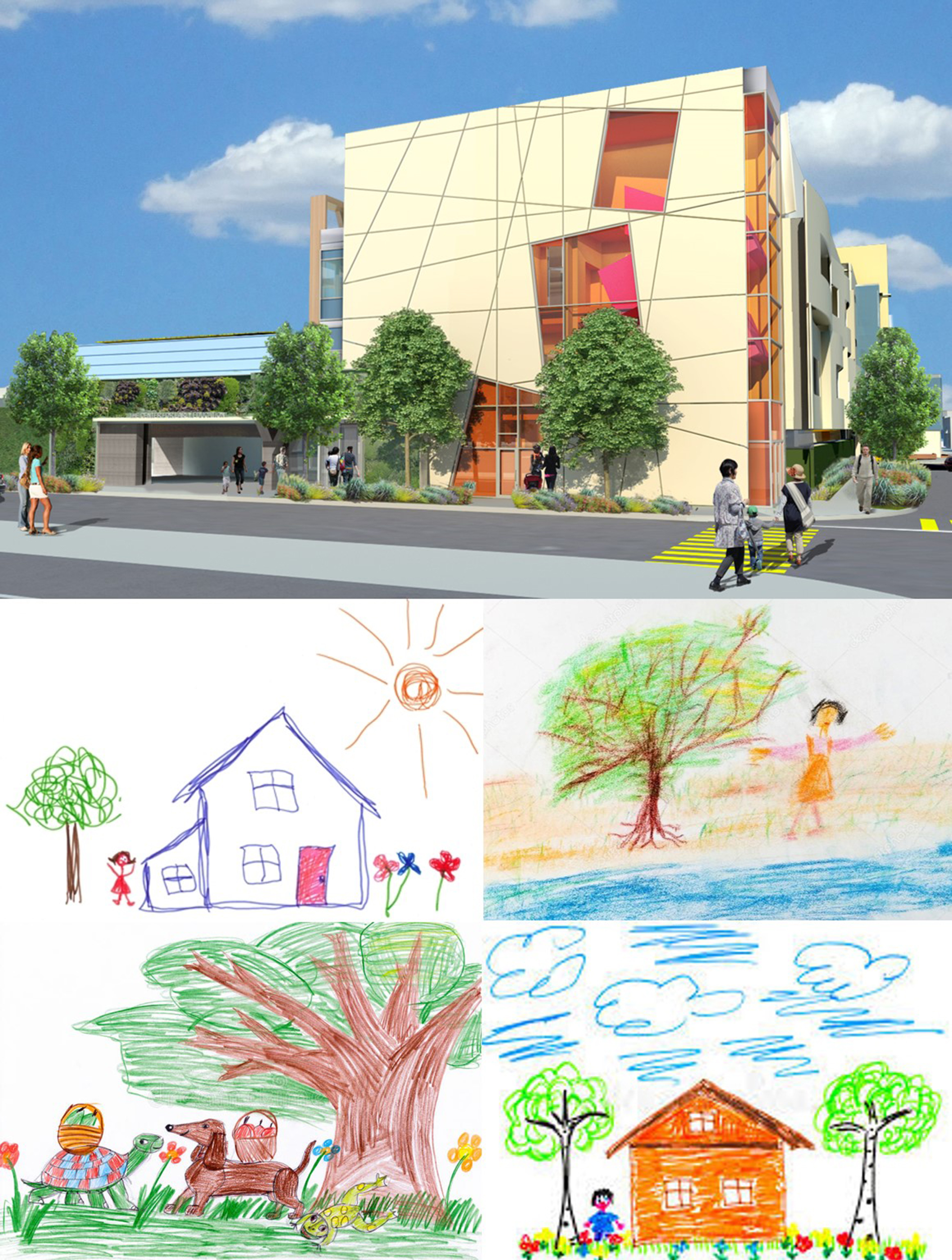 The Alfred Street facade of the Clinton wing of the CEE redevelopment project is inspired in part by the spontaneity of a child's drawing.