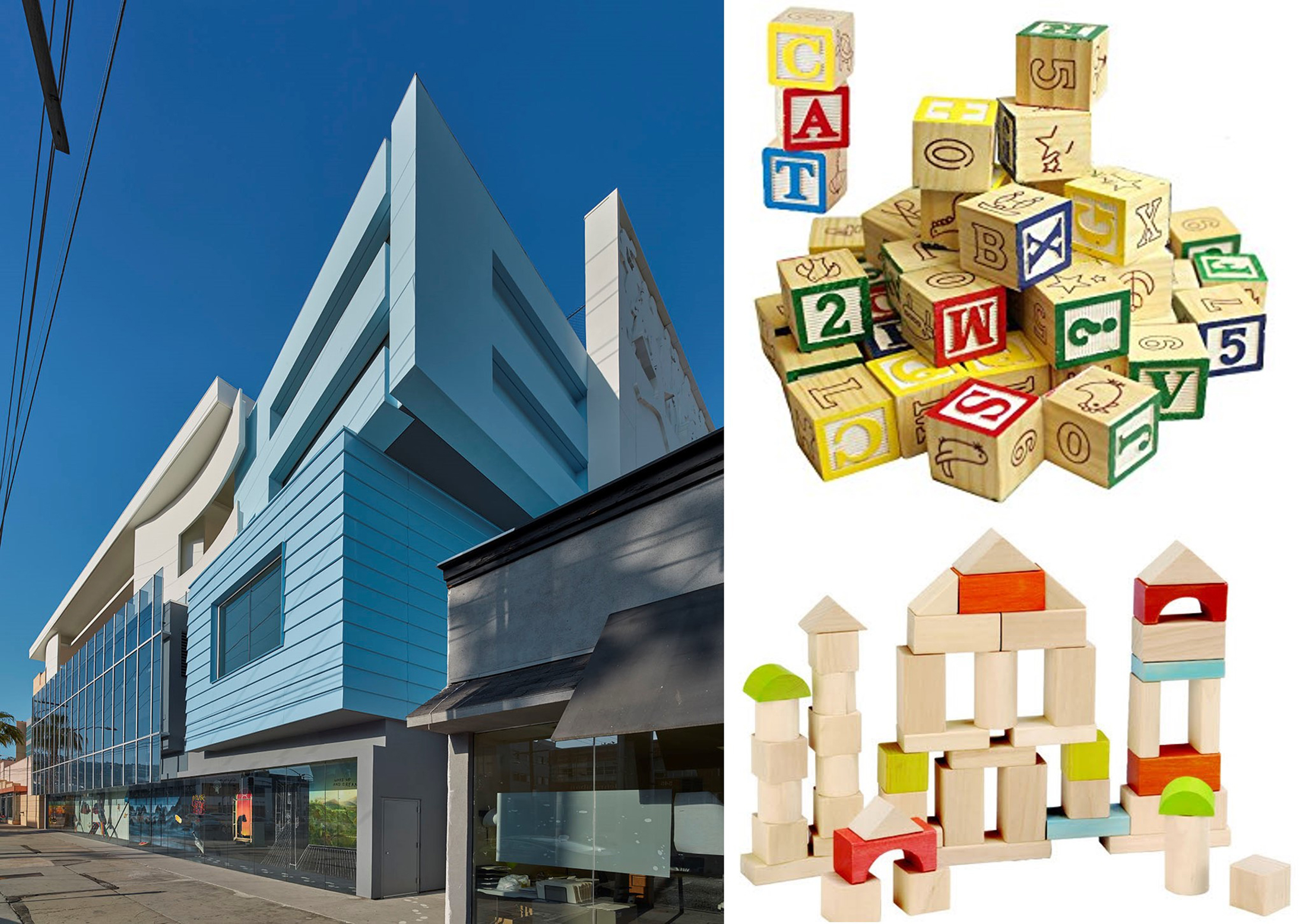 The architecture of the new CEE campus has been inspired in part by children's art and toys such as alphabet and building blocks.