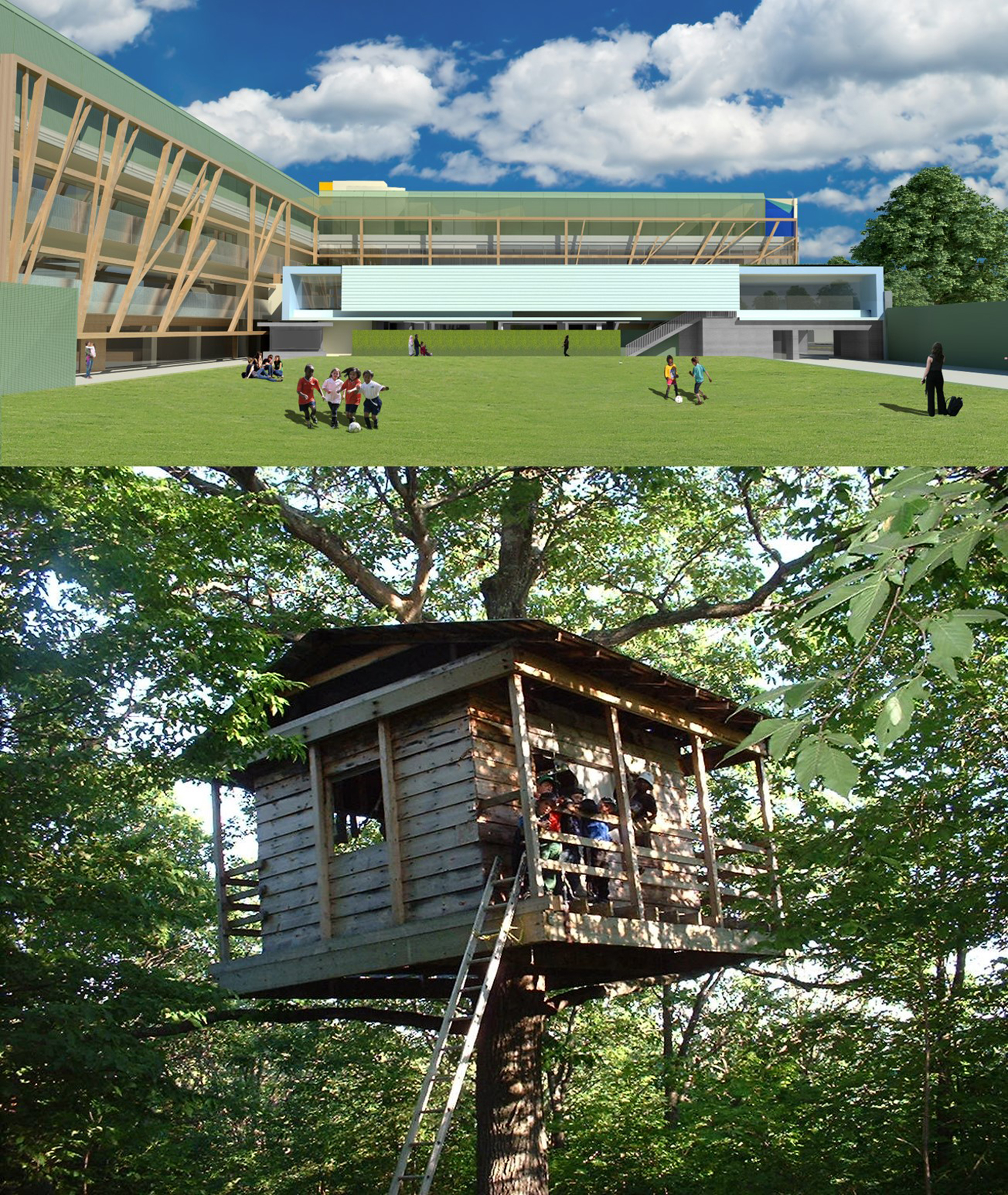 The play field and facing elevations of the new CEE campus buildings evoke in part the look and feel of a tree house.