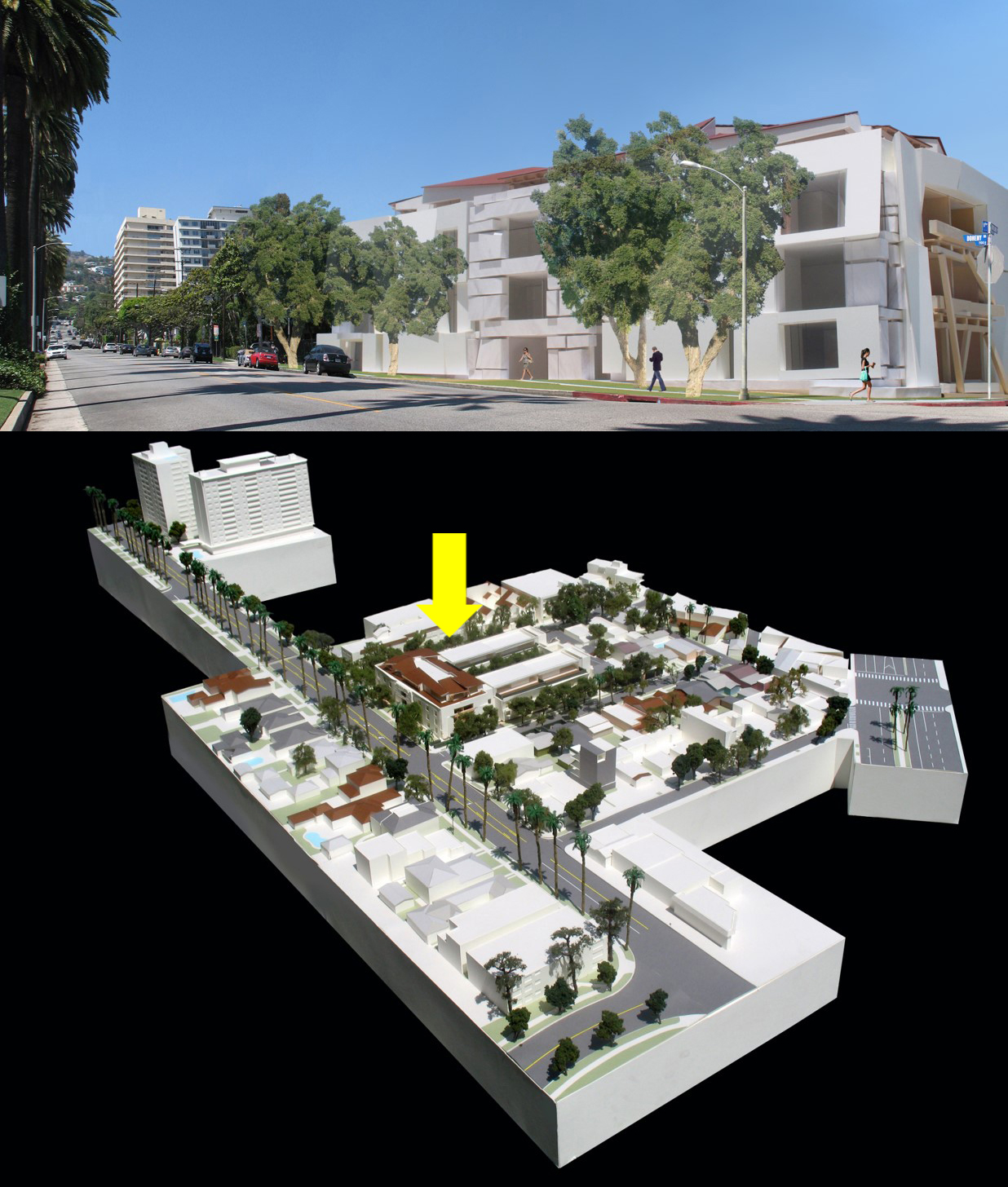 This four-story residential development proposed for a site in the heart of metropolitan Los Angeles offers an alternative to the single-family homes and towers that surround it.