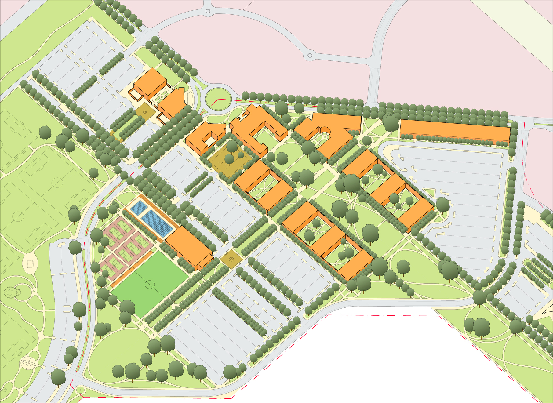 Chino campus 30 year master plan axonometric