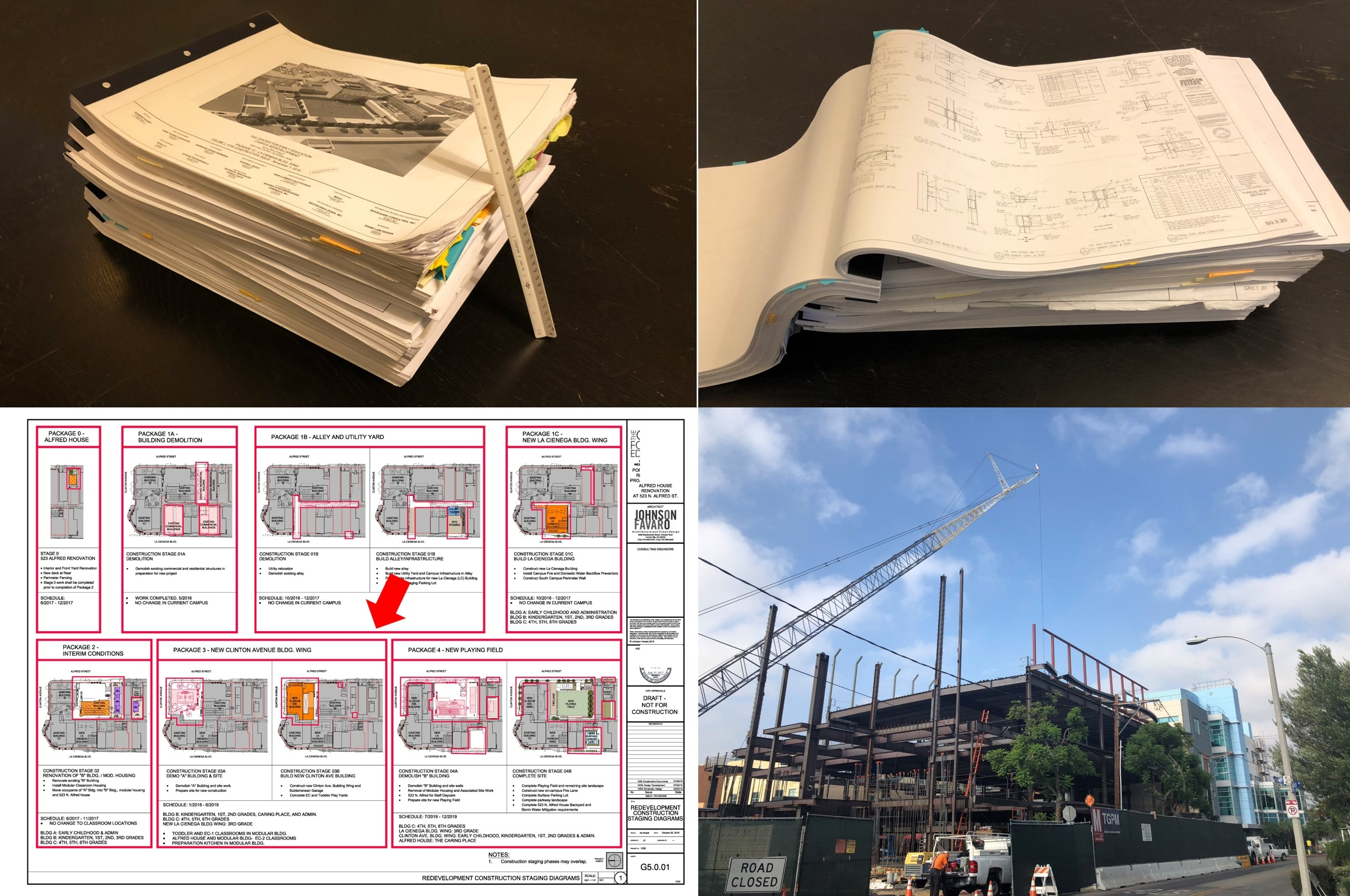 """The set of drawings that describes this project for a school in Los Angeles is over 1, 000 (30"""" x 42"""") pages which when stacked stand nearly 8 inches tall. This is a 3 ½ year construction project that had to be completely documented before start of construction."""