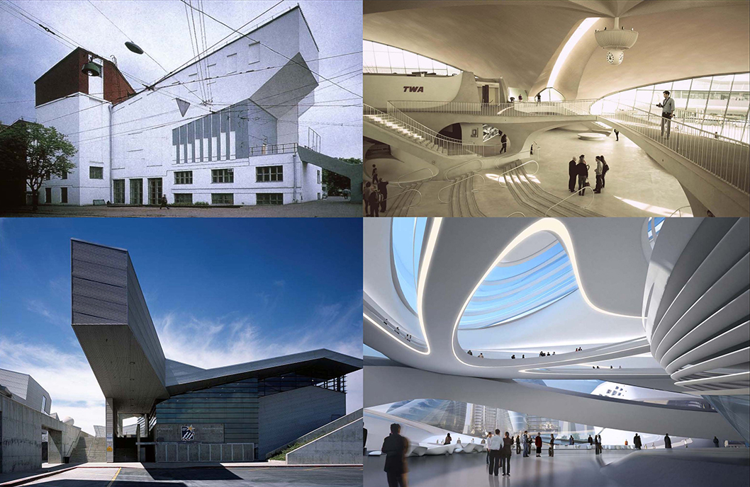 DEAD TECH OLD HAT Above left Melkinov in Moscow in 1927; below left Morphosis in southern California in 2000; above right, Saarinen in New York circa 1962; below right, Zaha Hadid in in China circa 2015.
