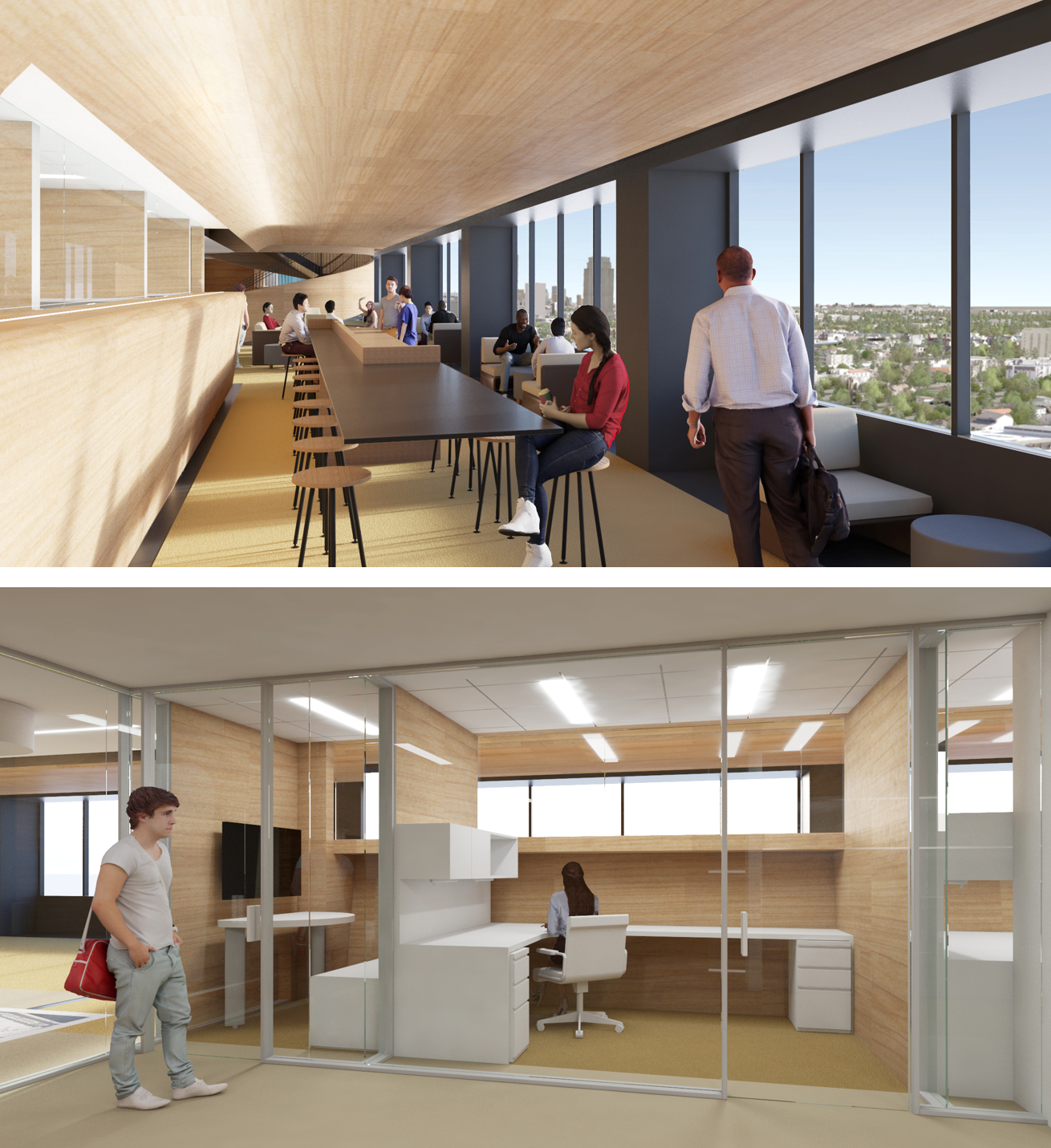UCLA UNIVERSITY EXTENSION ADMINISTRATION HEADQUARTERS By placing private offices in-board, open collaborative work space out-board all occupants are afforded daylight and views.
