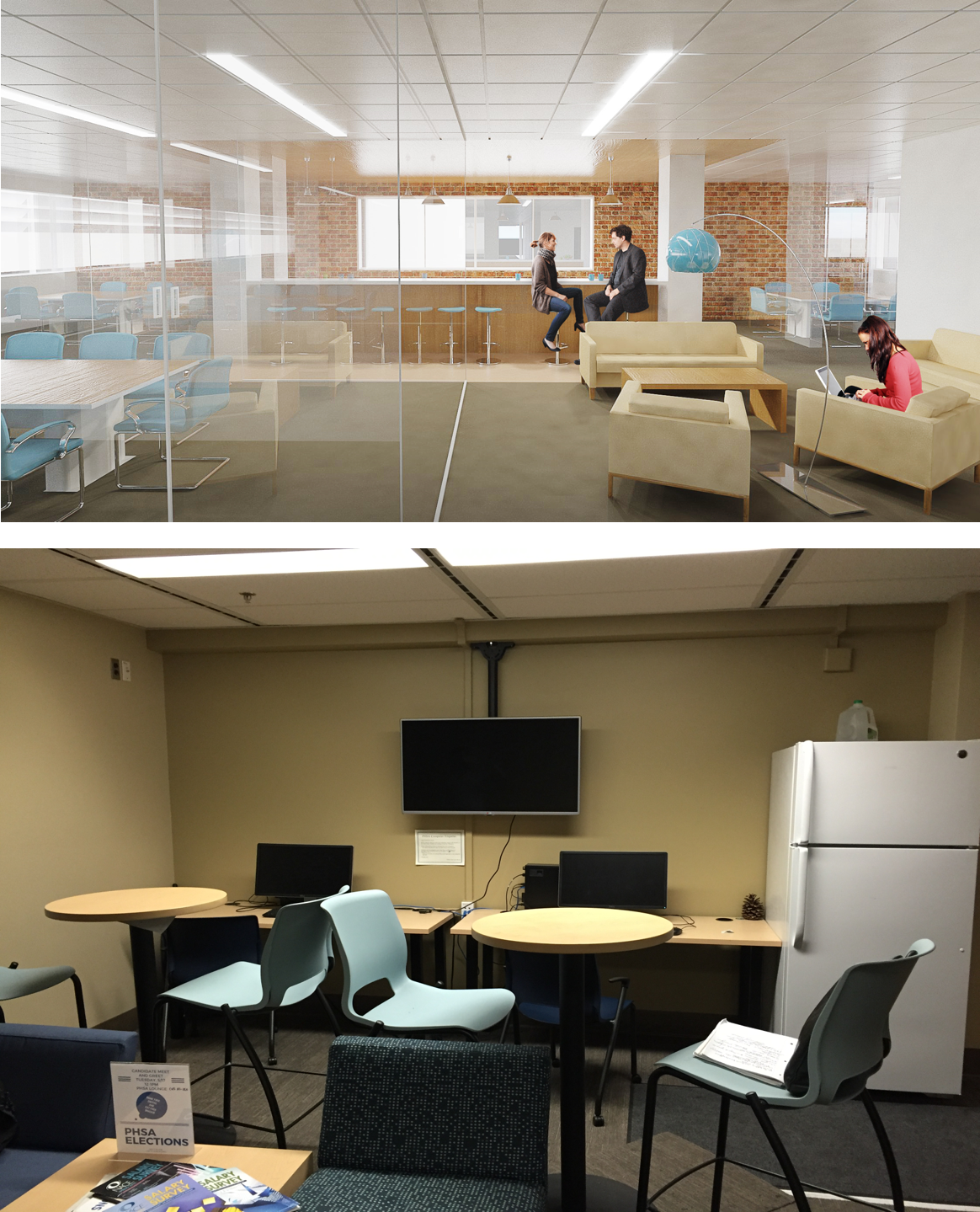 UCLA FIELDING SCHOOL OF PUBLIC HEALTH. Break rooms are brought out from the dark and into the light occupying a prominent spot in the middle of all the action on every floor. New school above, old school below.