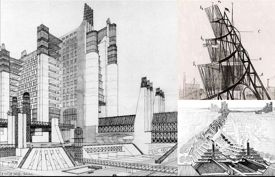 ROMANCING THE FUTURE Clockwise from the left: Italian futurism circa 1910, Russian constructivism circa 1914, Japanese metabolism circa 1960.