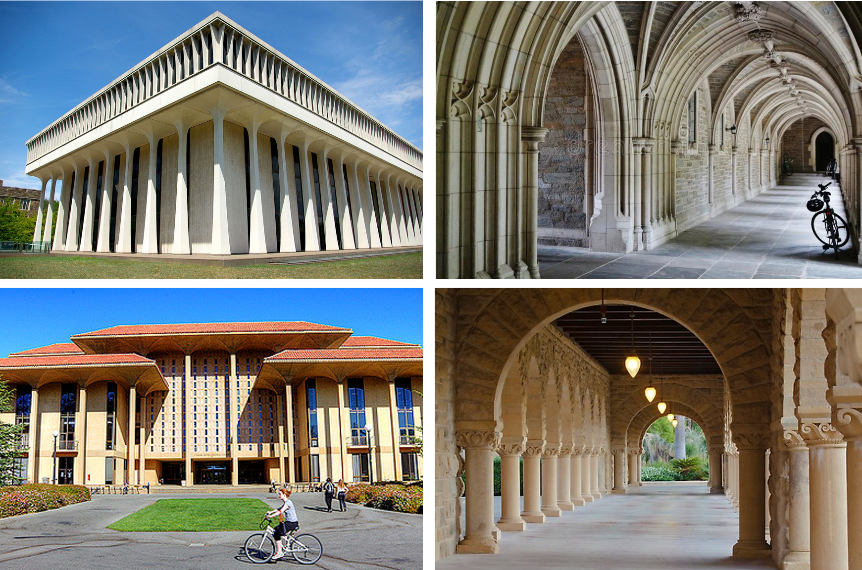 NOT TRYING ENOUGH Most of the mid-century architecture that proliferated across American college campuses offered little of what was good about modern architecture while also managing to degrade the traditional architecture of the campuses they occupied (Top: Woodrow Wilson School of Public and International Affairs, Princeton University; Bottom: J Henry Meyer Memorial Library, Stanford University)