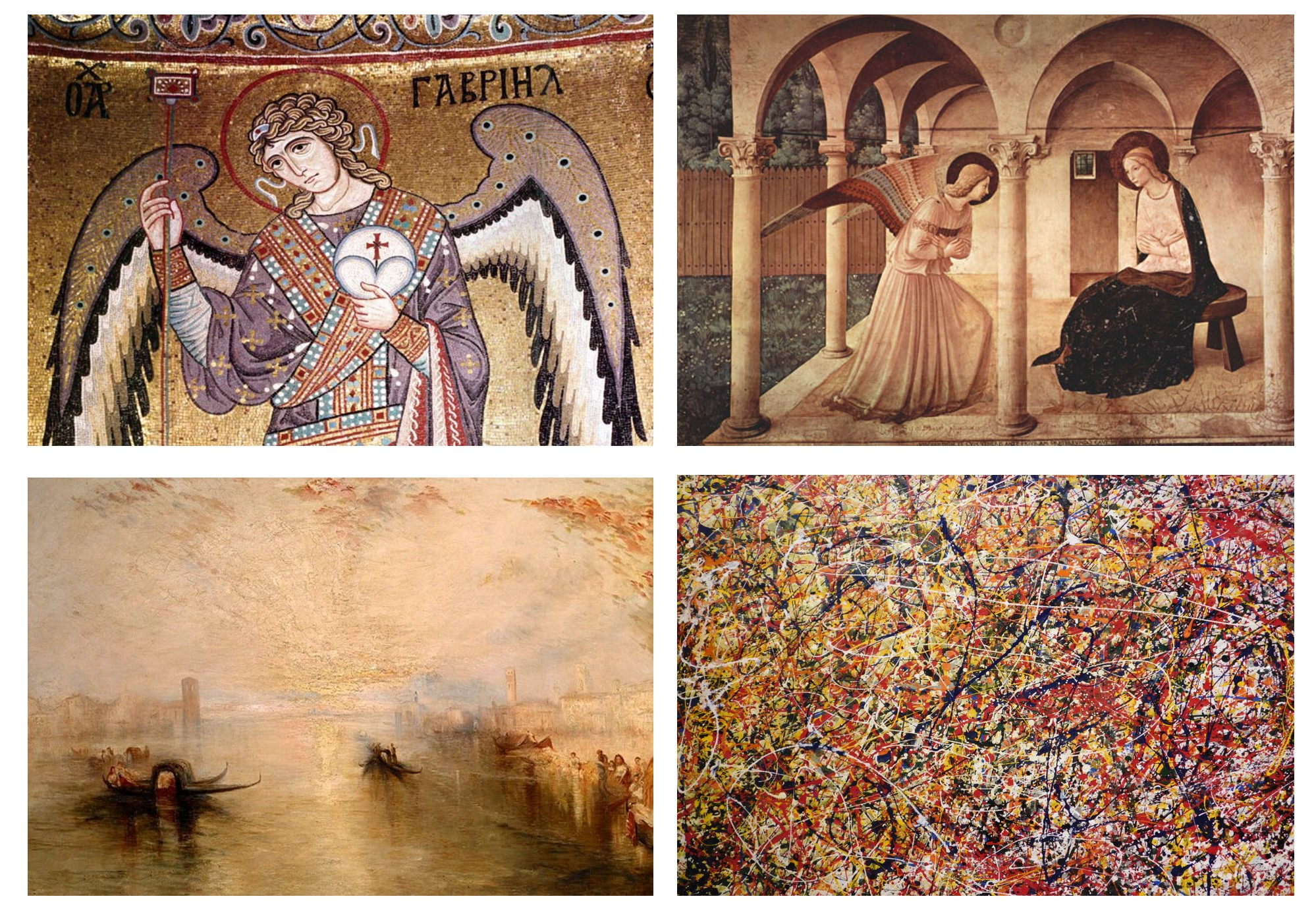 SYMBOLIC, NARRATIVE, ILLUSORY AND GESTURAL (The range of expression in western painting from Byzantium, upper left to Pollock lower right)