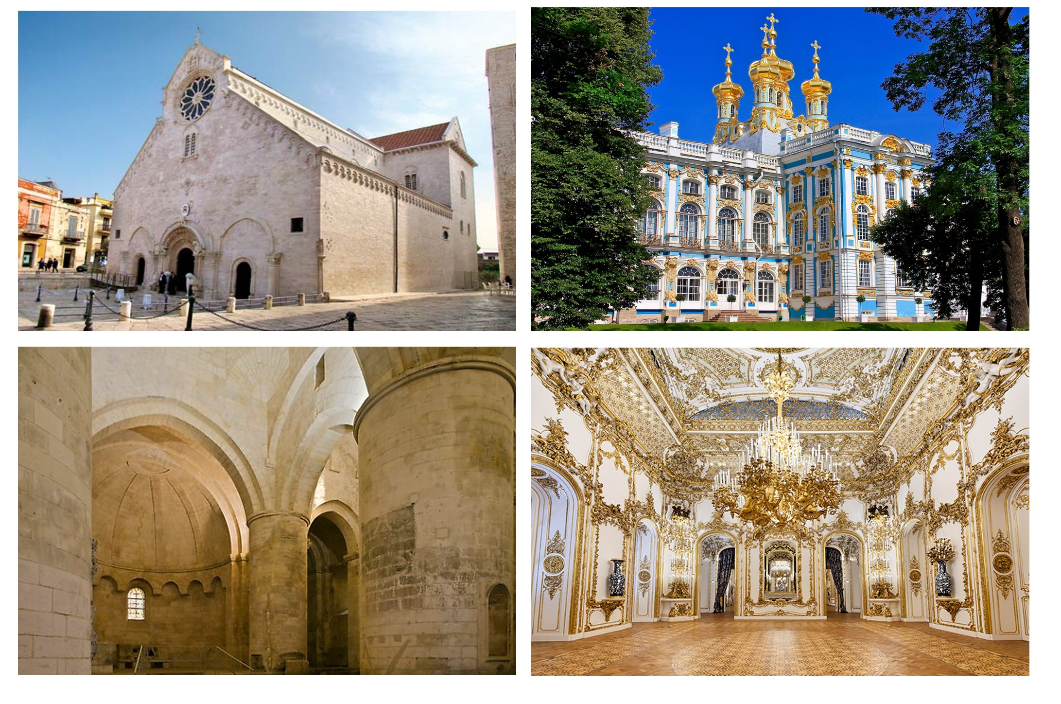 VOLUMINOUS AND TEXTURAL Strong, simple volumes of Romanesque architecture contrast with the richly decorated surfaces of Rococo architecture.