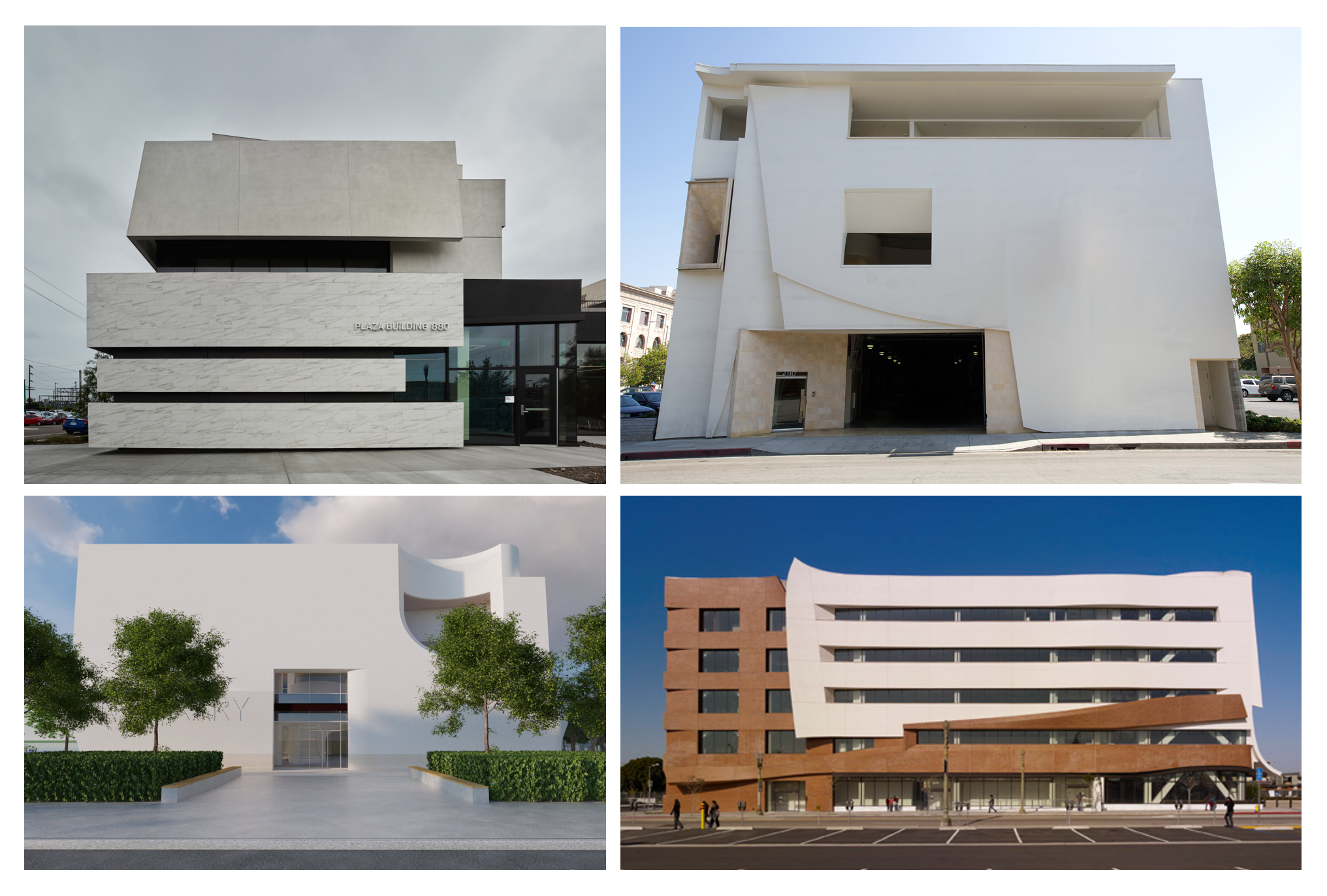 BUILDING LIKE IT MATTERS In an increasingly secular and cynical world some buildings—schools, libraries, civic, cultural and community institutions—still can (and should) be designed and built as if they matter. Clockwise from upper left: Southwest College Allied Health Sciences Building, Pasadena Museum of California Art, LATTC Technology Building, Costa Mesa Library.
