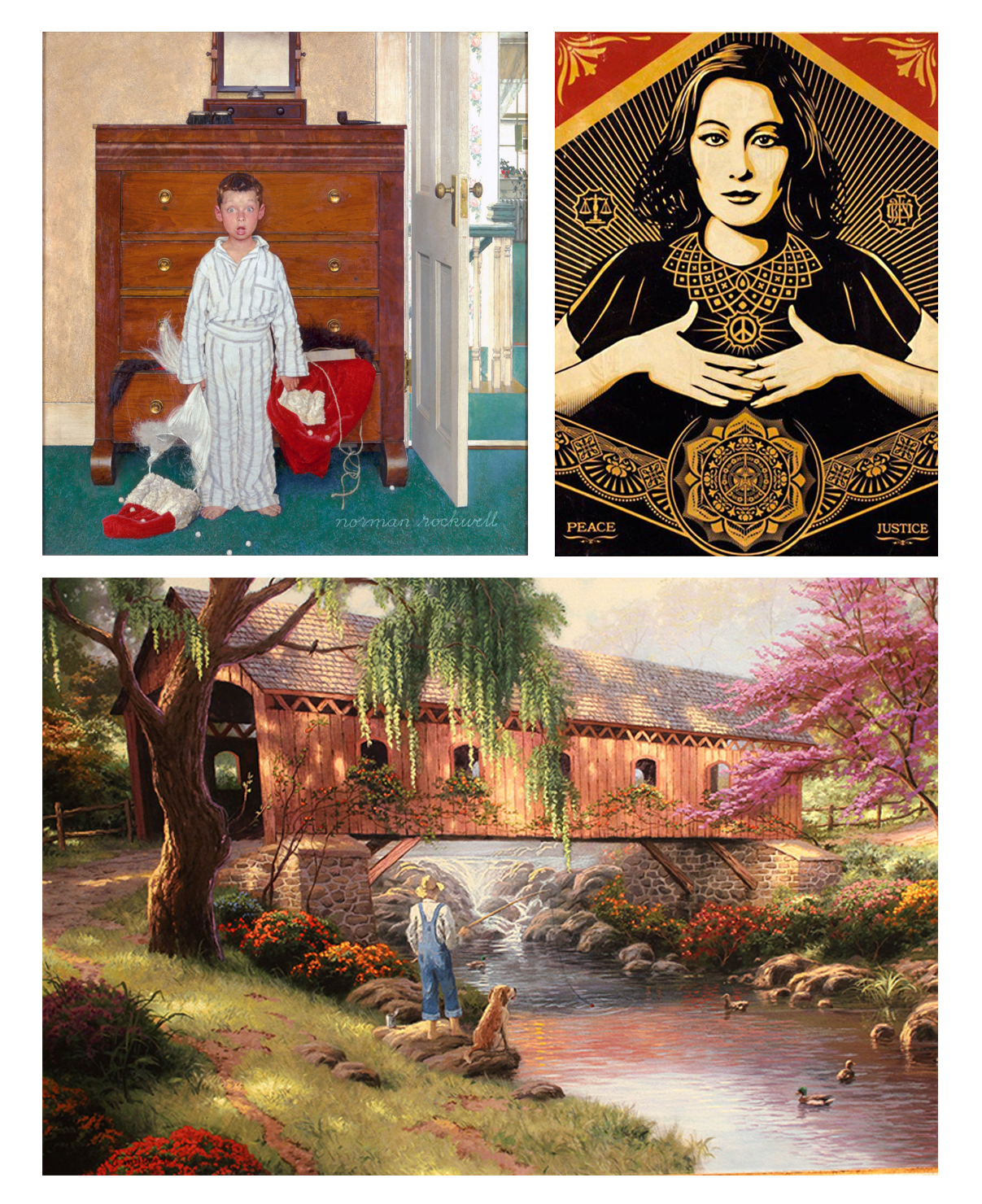 SENTIMENTAL ART Clockwise from upper left: Rockwell, Fairey, Kinkade