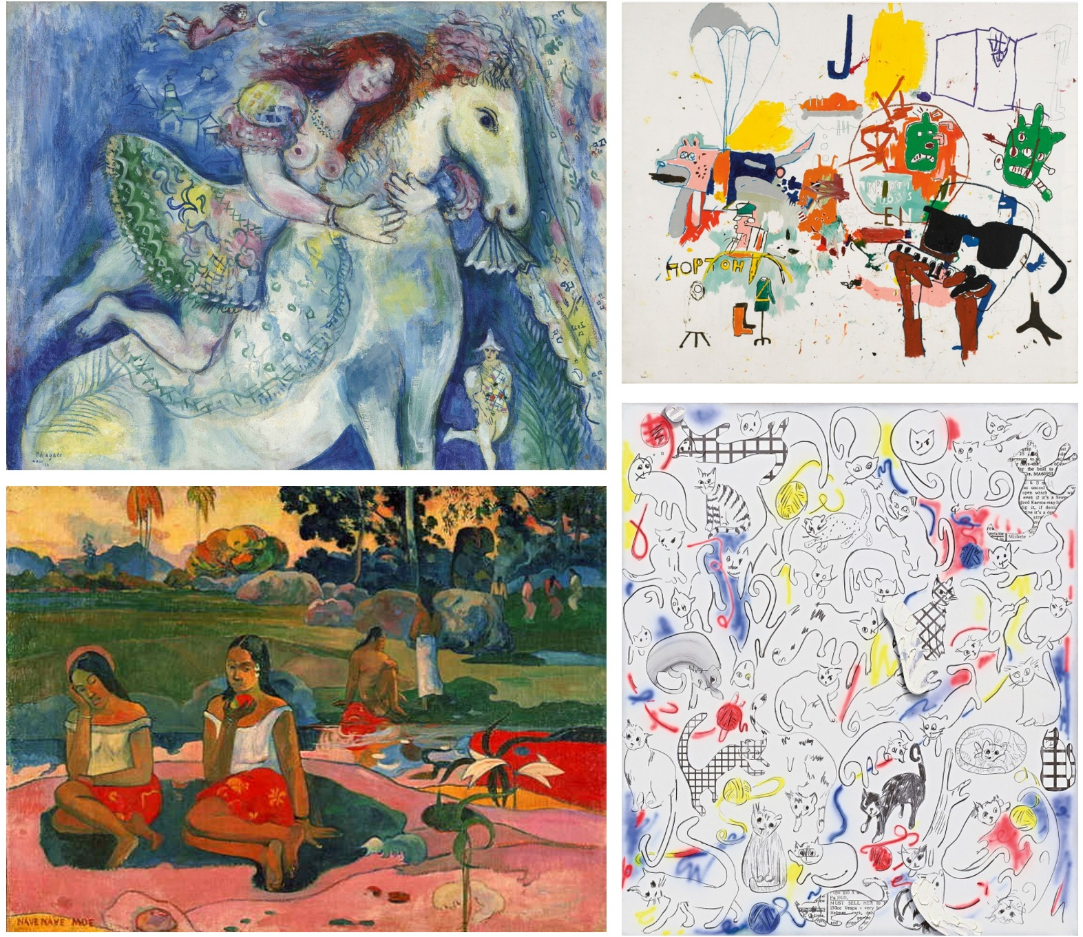PRETEND PRIMITIVE ART Clockwise from upper left: Chagall, Basquiat, Owens and Gaugin.