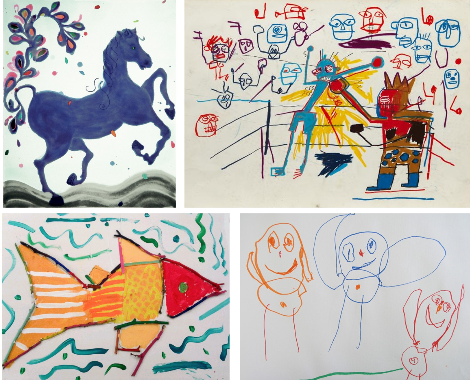 PRETEND INNOCENT ART (AND THE REAL THING) Clockwise from upper left: Owens, Basquiat, children's art.