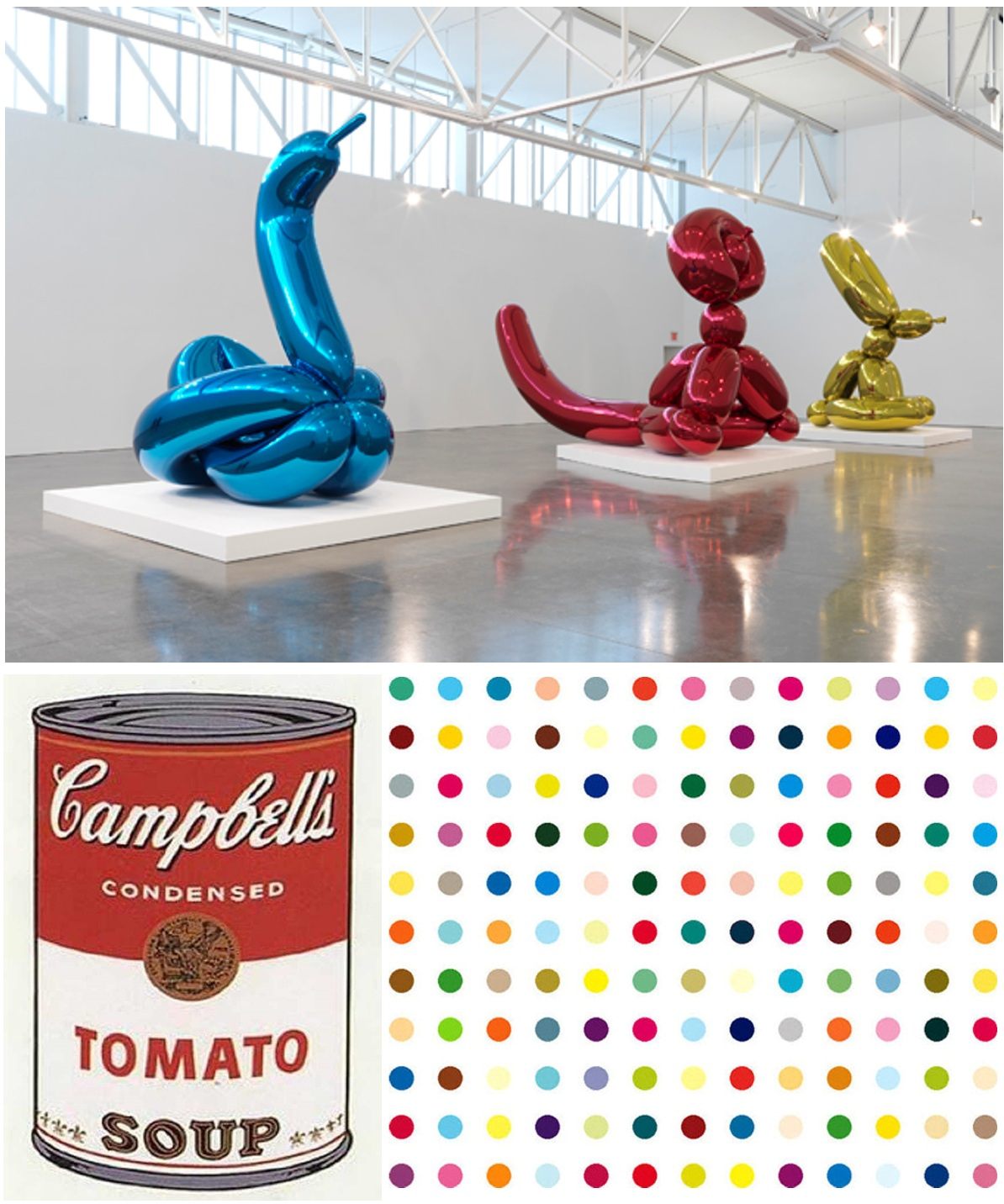 CYNICAL ART Clockwise from upper left: Koons, Hirst, Warhol.