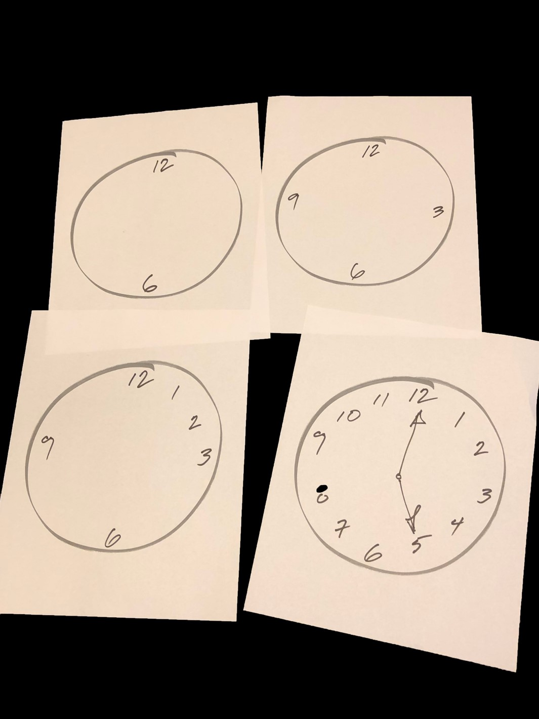 THE EASY WAY TO DRAW A CLOCK. First divide in half, then each half in half again then each quarter into thirds.