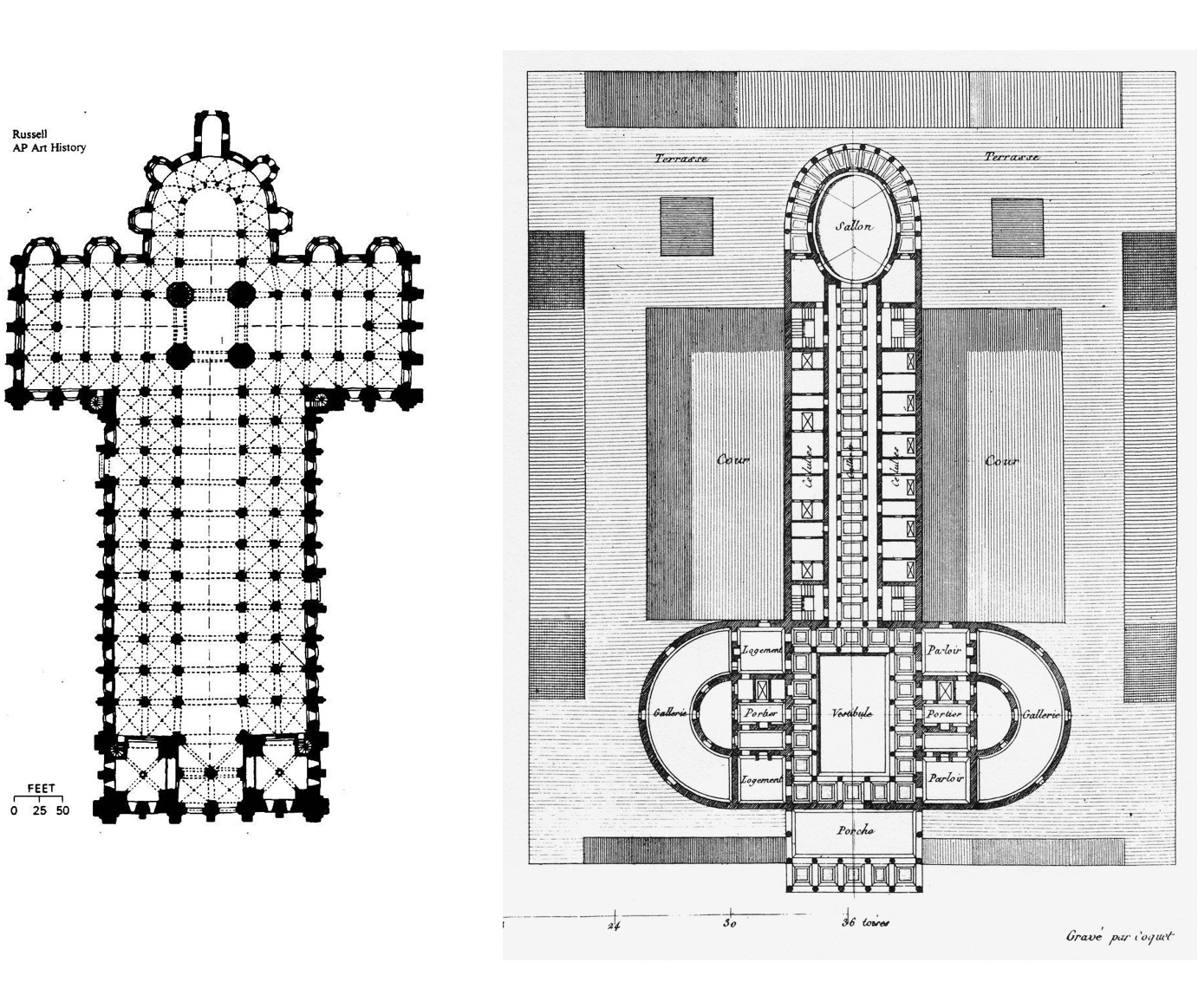 THE PLAN AS A SYMBOL The plan of the Romanesque cathedral on the left takes the shape of a cross. The plan on the right drawn by 18th century architect Nicolas Ledoux is an irreverent and rhetorical imagining of a bordello.