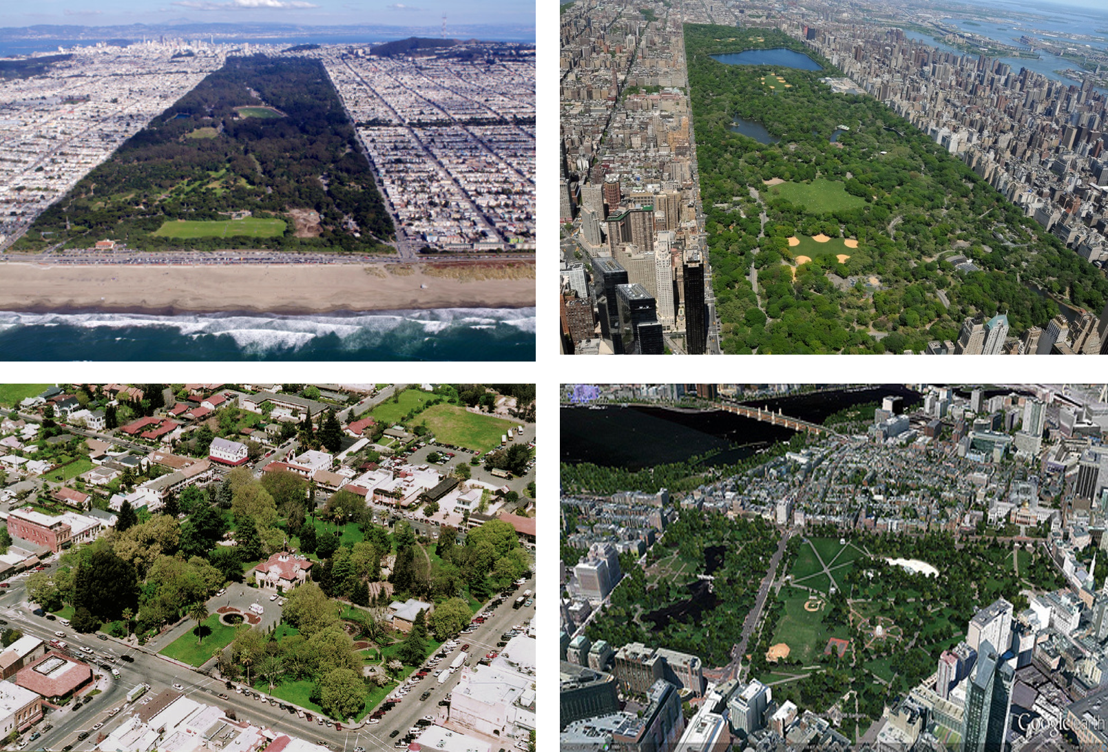 AMERICAN PARK The nation built parks large and small as microcosms of nature within prosperous and rapidly expanding towns and cities from coast to coast (Clockwise from upper left: Golden Gate Park, Central Park, Boston Common, Sonoma Square).