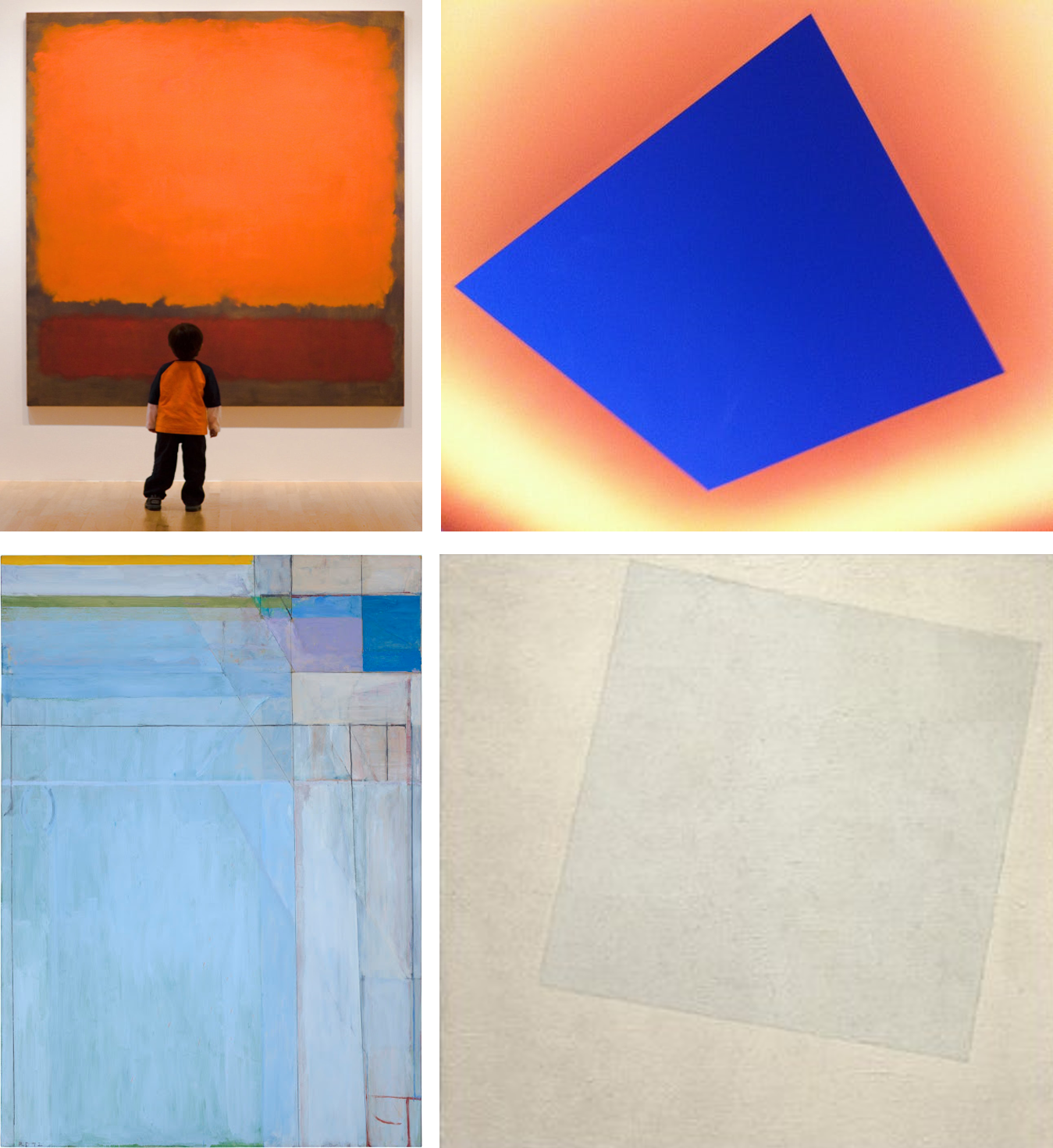 VOID IN ART Clockwise from upper left: Rothko, Turrell, Malevich, Diebenkorn