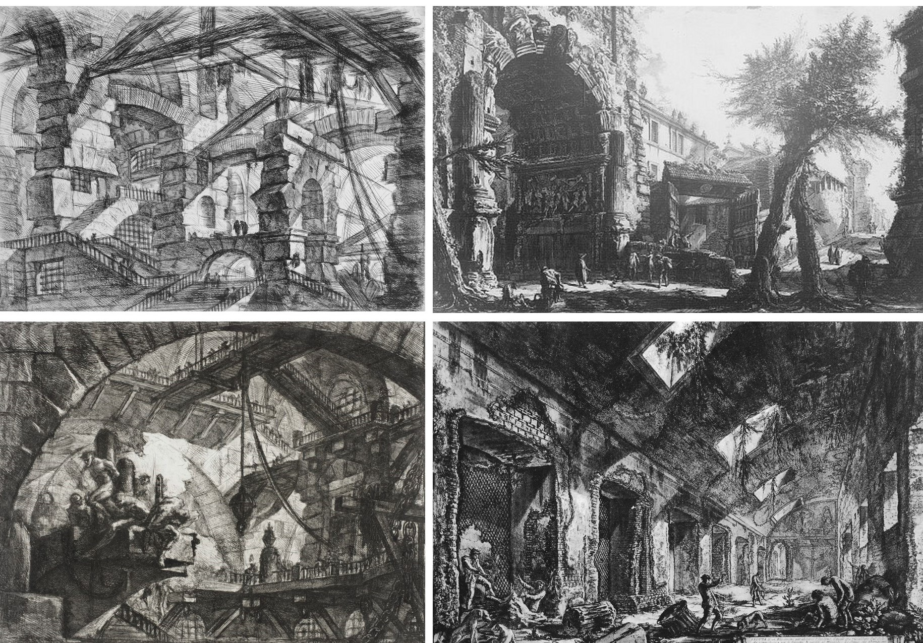 TERRIFYING BEAUTY 18th century architect Giovanni Piranesi made awesome imagery of terrifying scenes like imaginary prisons and Roman ruins. As spectacular as they are the images portray squalid scenes. And yet they ignited a romantic love affair with ruins that prevails to this day.