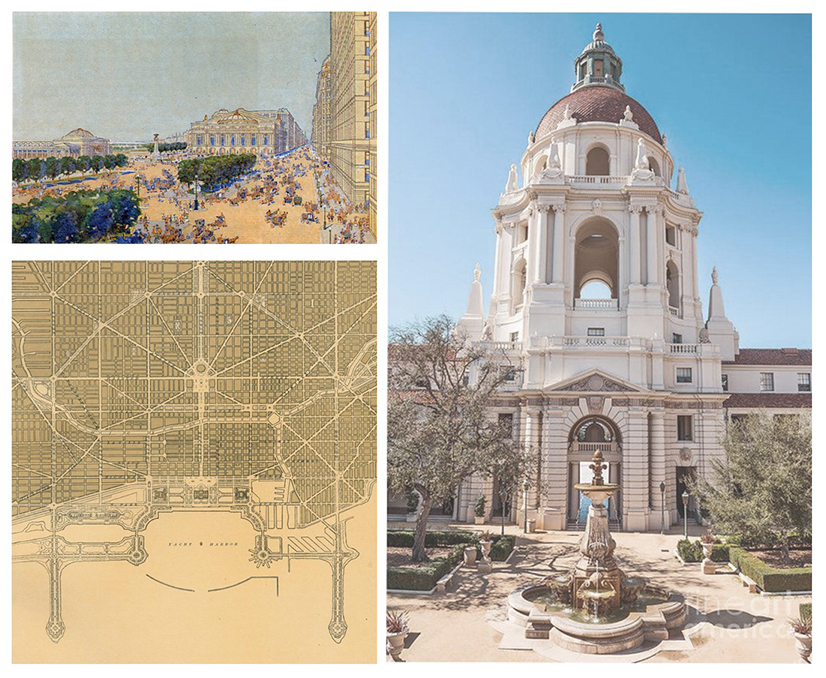 CITY BEAUTIFUL Daniel Burnham adopted Baroque planning principles at a huge scale to create entirely composed cities (left). These principles in practice have given us some of the most beautiful civic spaces and parks in America, of which Pasadena, CA has one of the best examples in its city hall (right).