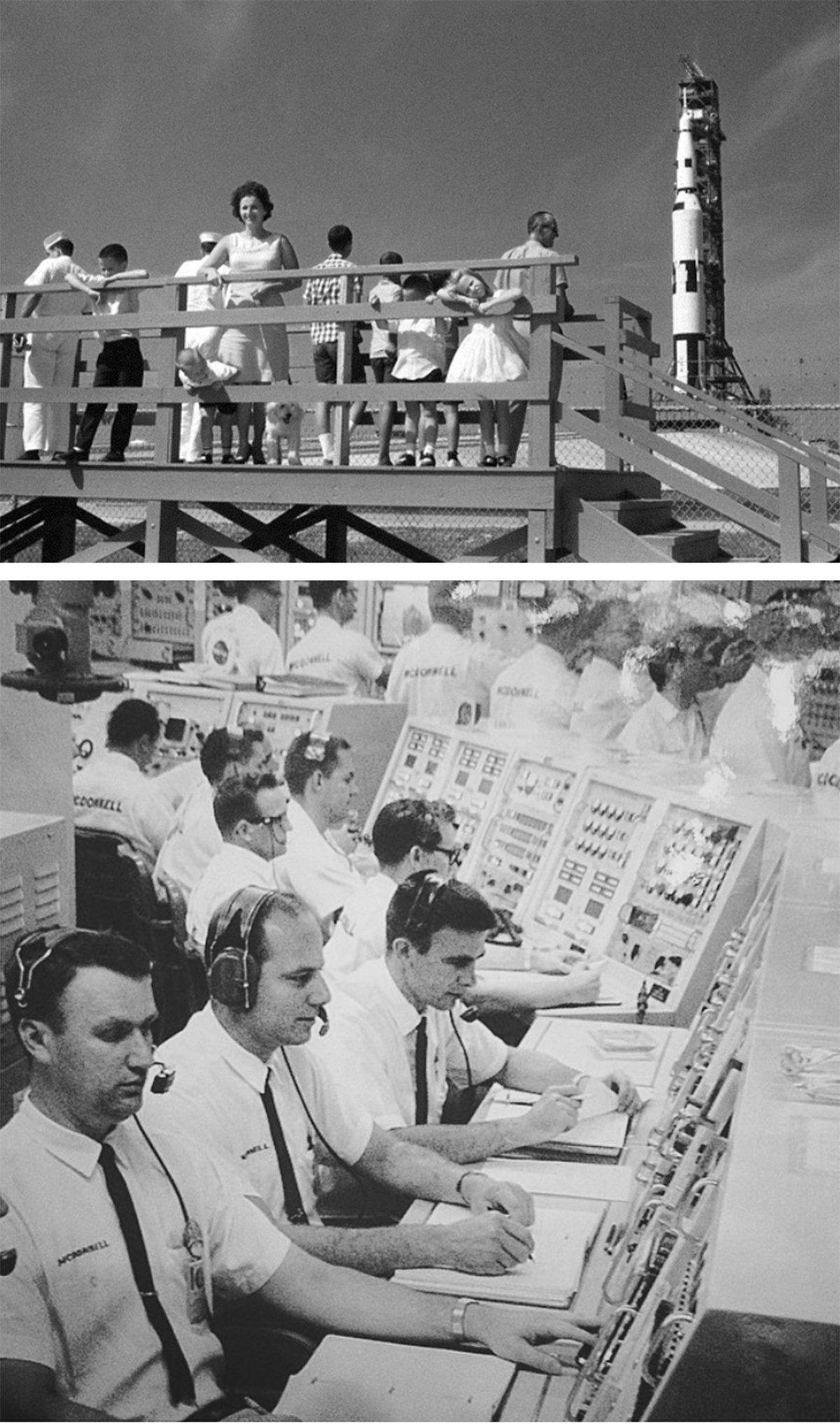 INVESTMENT IN PEOPLE Steve Johnson's father, a mechanical engineer, worked at NASA in the 1960S on the Saturn program — the precursor to the Apollo program. Above: Steve (second from left) and family at Cape Canaveral Florida; Below: Steve's father in the control room (third from left).