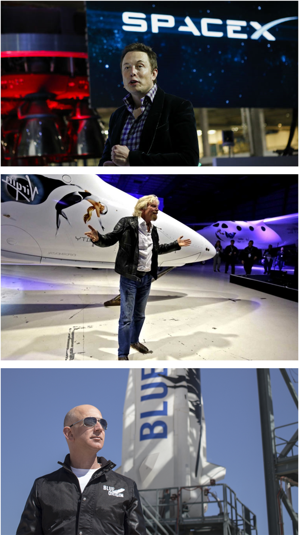 ENTREPRENEURS TAKE ON SPACE TRAVEL Neither Musk, Branson nor Bezos (top to bottom) invented space travel, nor its associated technologies nor anything close to it. They are personalities, figureheads, building businesses that rely on the experience of scientists and engineers whose knowledge was built on the foundation of years of public investment that preceded them.