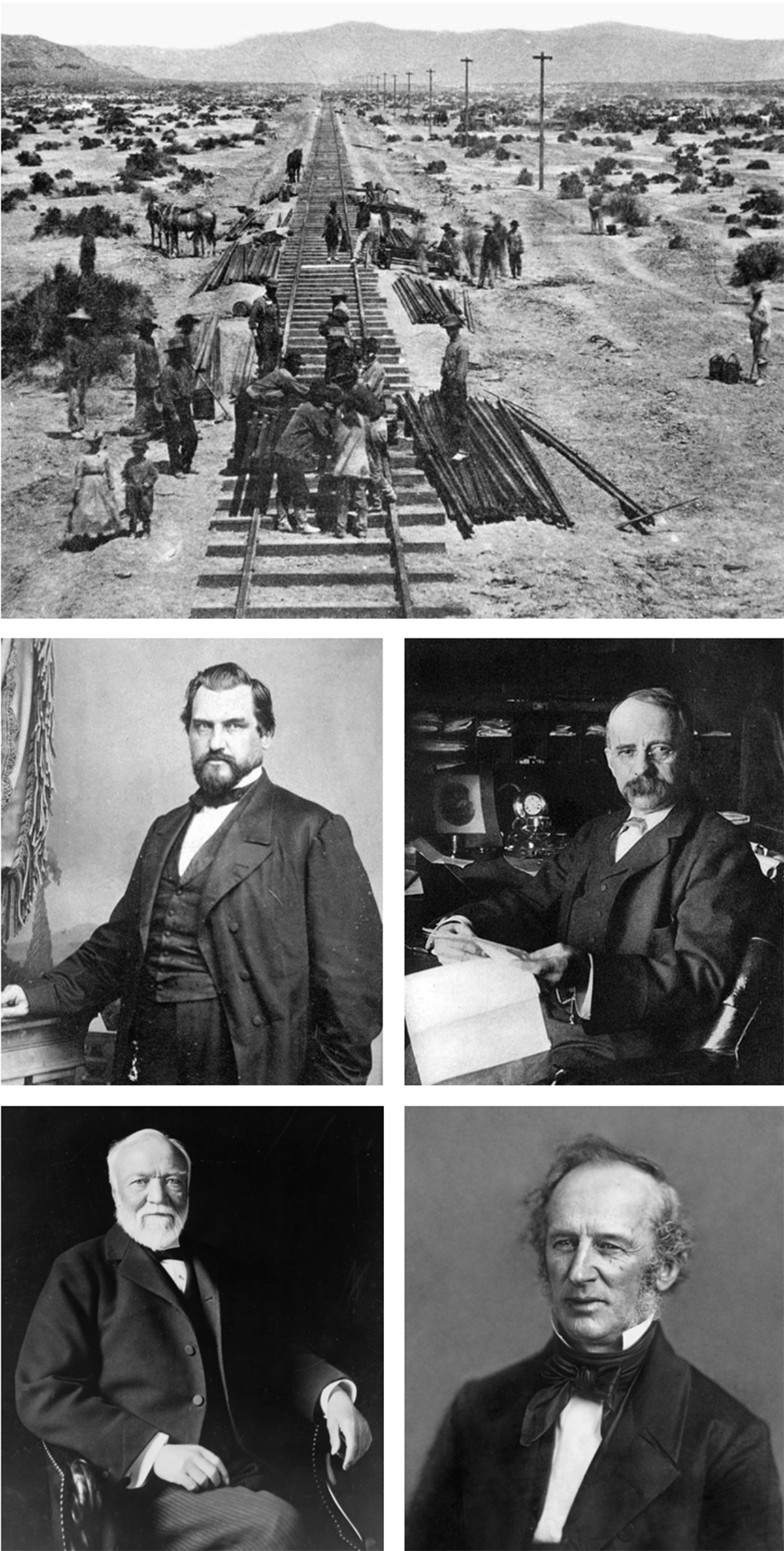 INVESTMENT IN INFRASTRUCTURE The federal government funded the transcontinental railroad and its expansion into a nation wide system. Railroad entrepreneurs then built business empires based on that infrastructure (Above: the transcontinental railroad under construction; Below: clockwise from upper left: Leland Stanford, Walter H Harriman, Cornelius Vanderbilt, Andrew Carnegie).