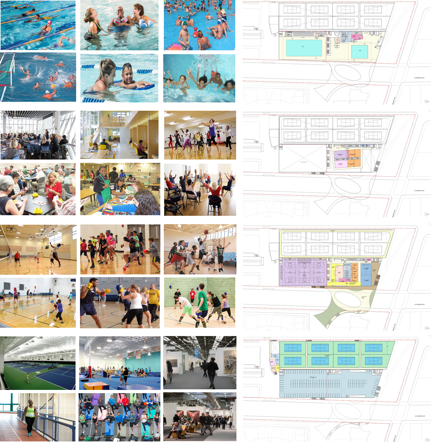INTEGRATION OF COMMUNITY The complex of recreation and community facilities planned for the redevelopment of La Cienega park will put in one place an array of activities so broad and so rich in social interaction that the place will become another center of life for the Beverly Hills community apart and distinct from its shopping district, performing arts center or even civic center. (Above top to bottom: aquatics, community center, recreation center, tennis center).