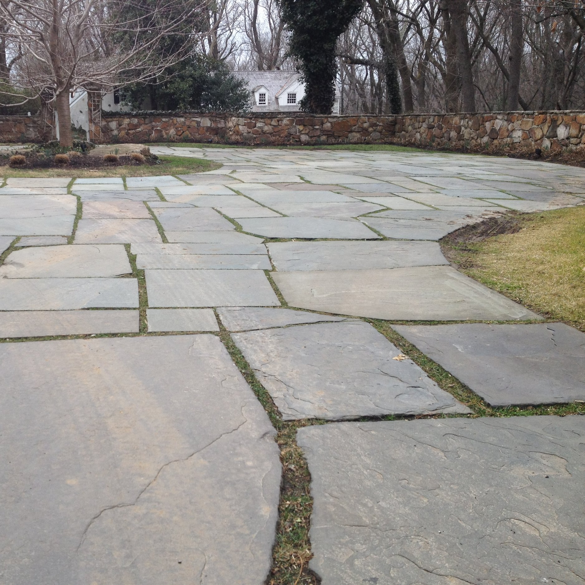 Following the installation of replacement flagstone, we poured compatible hydraulic lime mortar between the open joints –to prevent ice-jacking during the winter –and then finished the surface with a layer of grass seed and dirt,to better weave this historic driveway into the surrounding landscape.