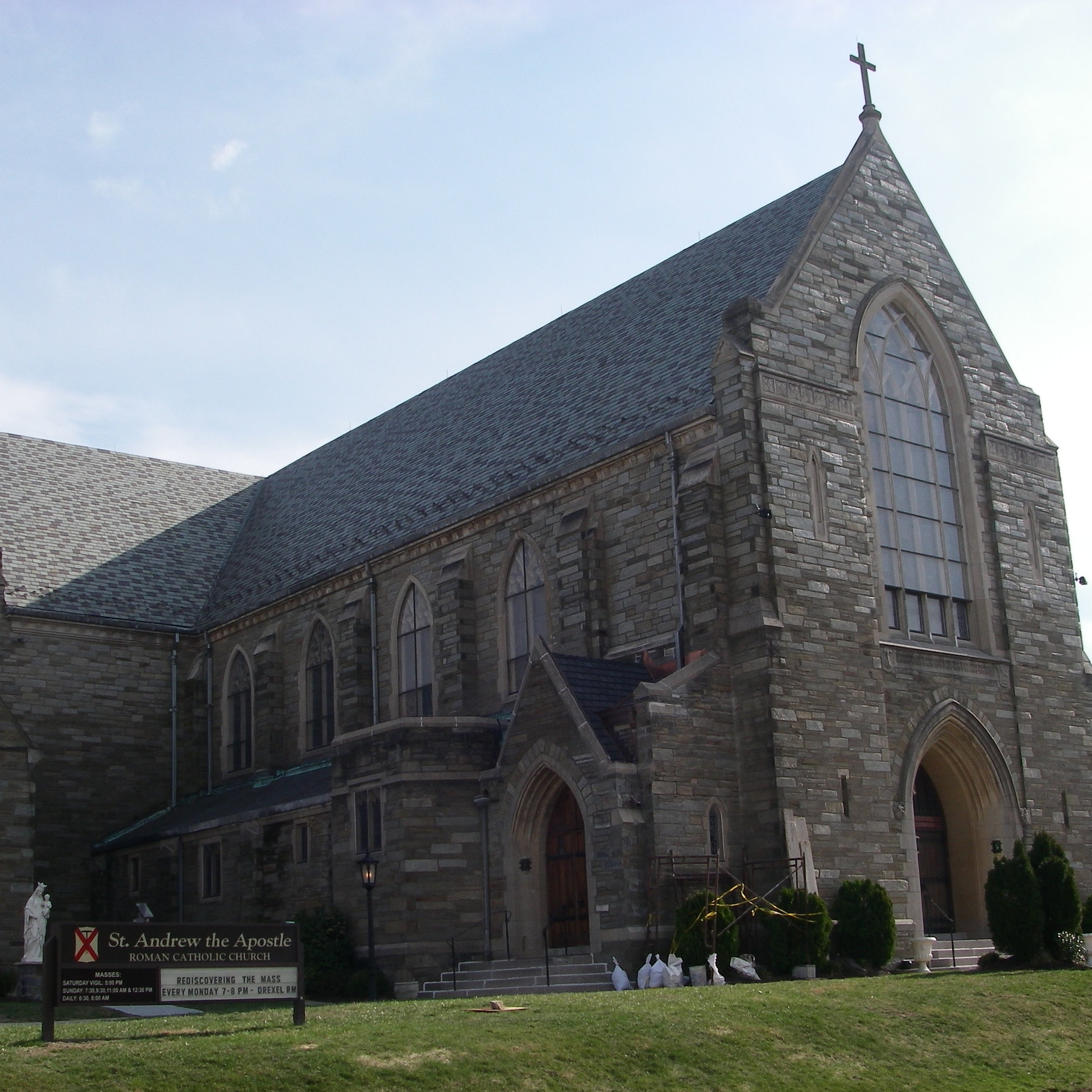 St. Andrew the Apostle Church (Drexel Hill), one of the many religious institutions for which we have provided periodic concierge slate replacement and gutter repair services.