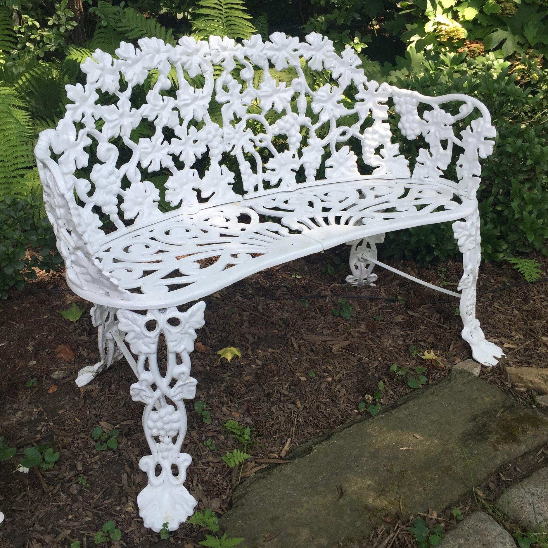 In situ ornamental garden furniture following conservation treatment.