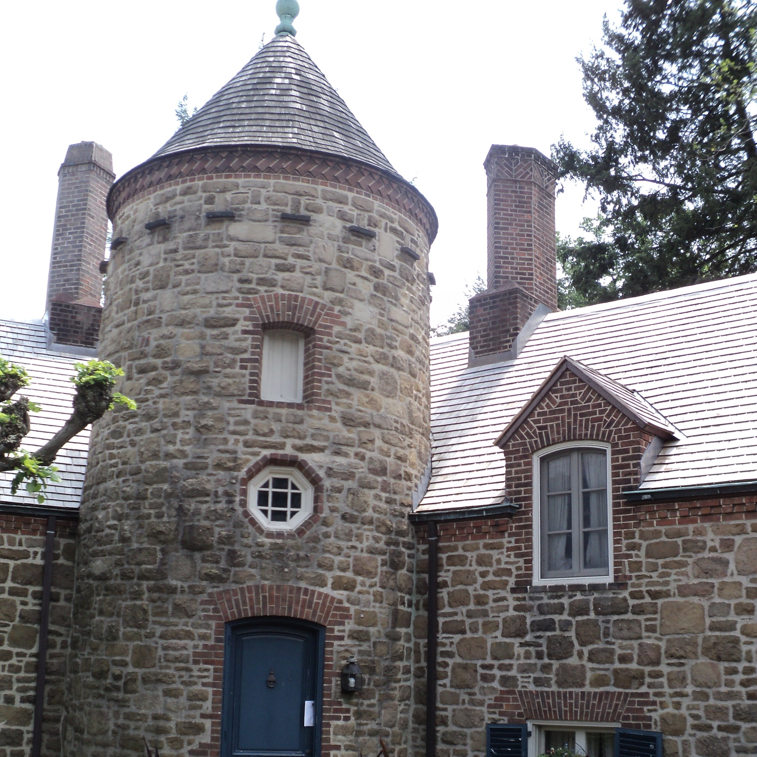 This massive Gladwyne estate, which was once owned by the patricians of the Campbell Soup Company and which was designed by Edmund B. Gilchrist, actually had an experienced year-round maintenance crew. But when its complicated network of early Depression-era underground drains got blocked, backing rainwater and snowmelt up through the ornate downspouts and down the masonry walls, they contacted us to solve the problem.